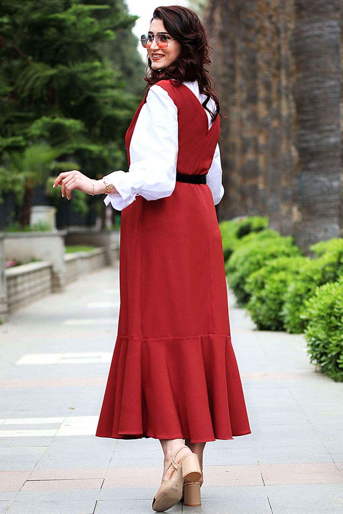 Nurgül Çakır - Makaron Jile Elbise Kiremit