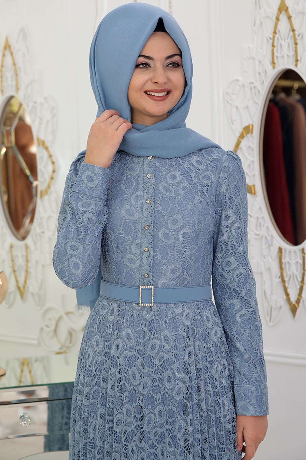 Pınar Şems - Dantel Piliseli Elbise İndigo