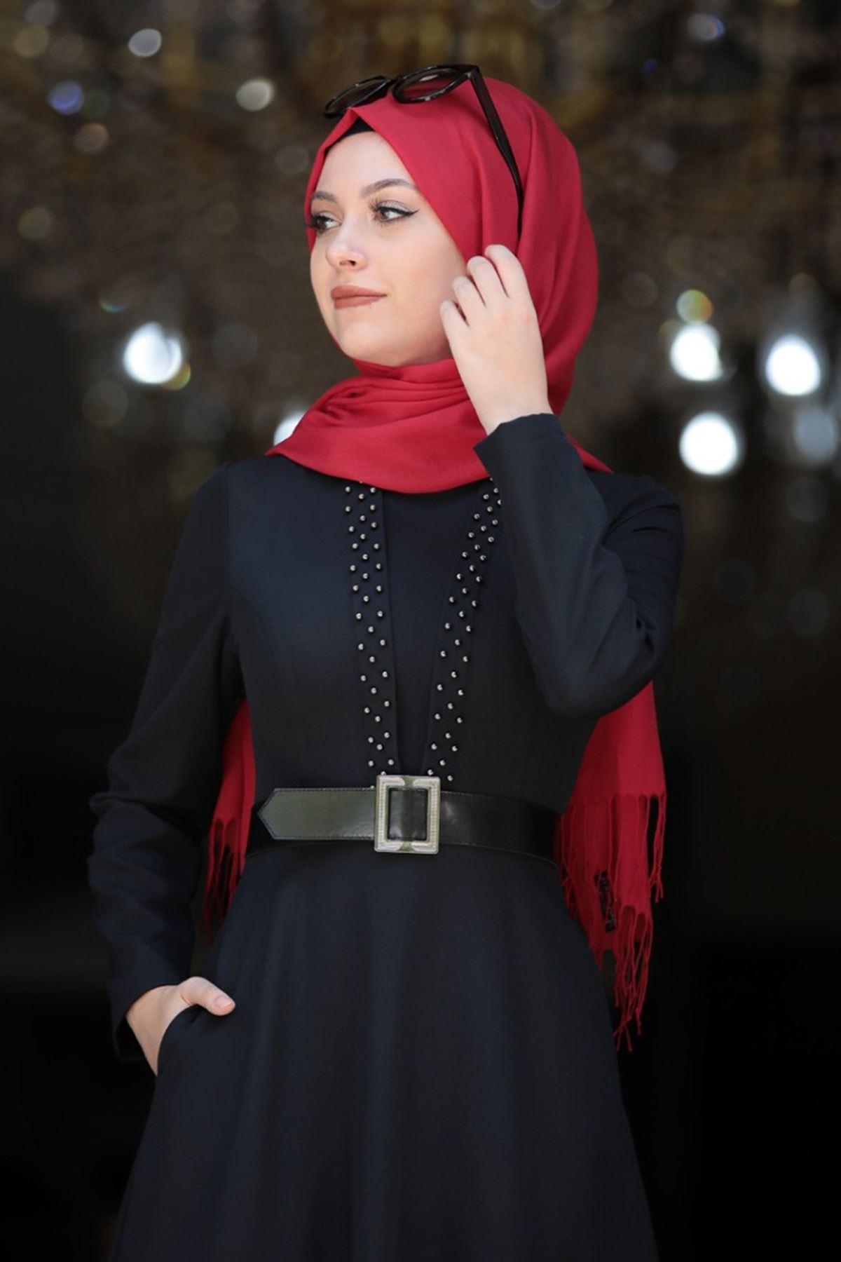 Semra Aydın - Ada İncili Elbise Siyah