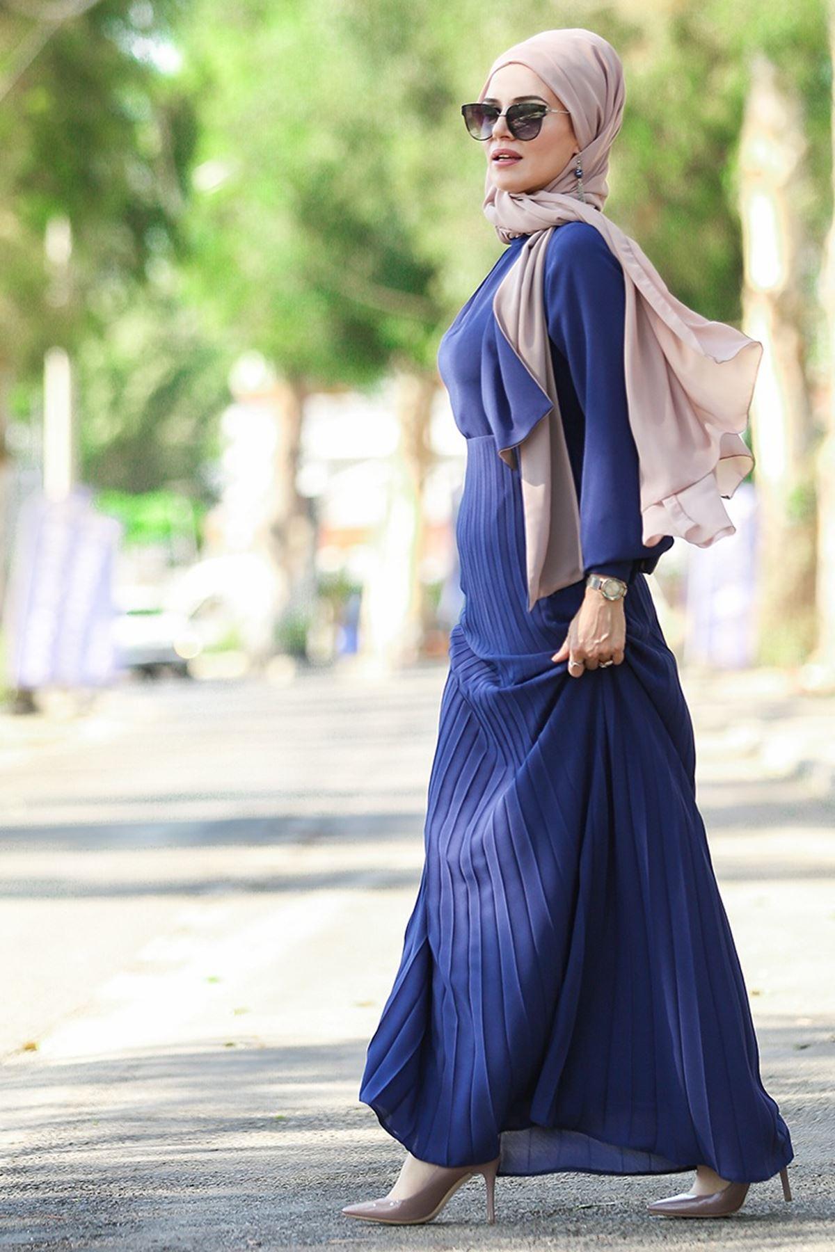 Merve Arslan - Piliseli Elbise İndigo