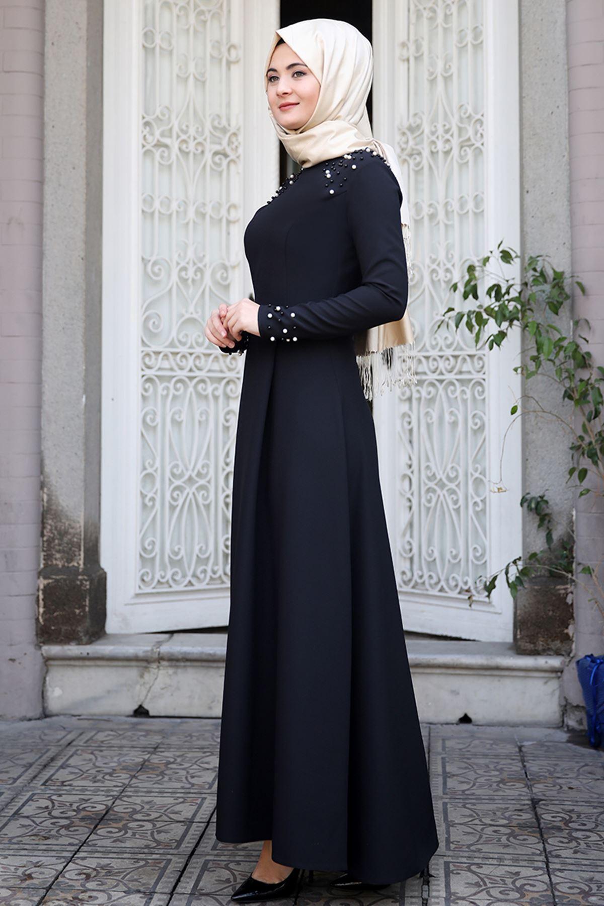 Sümay Omuz Taşlı Elbise Siyah