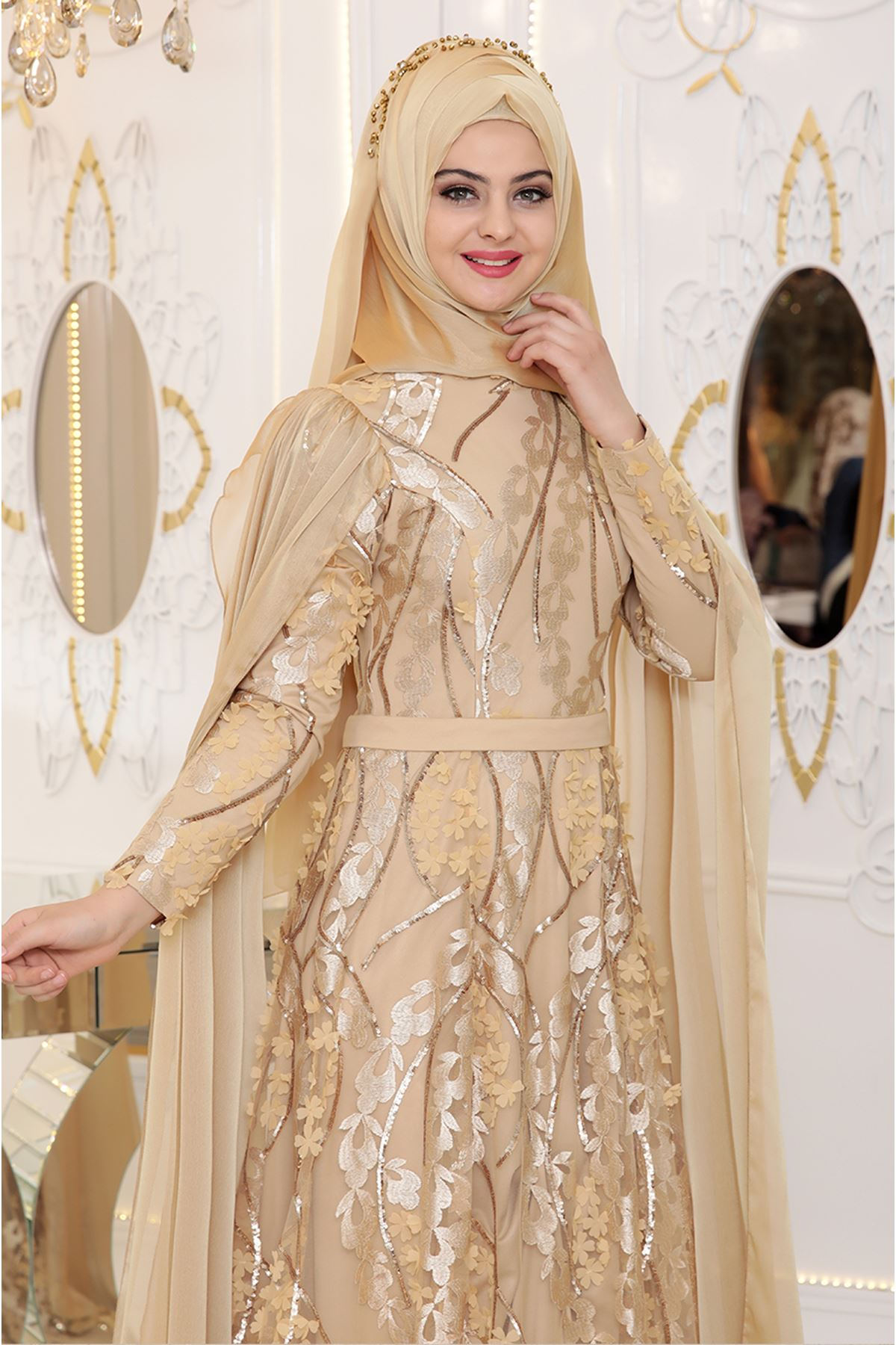Pınar Şems - Yaprak Abiye Gold