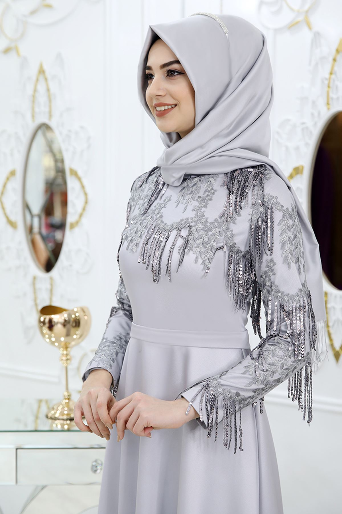Pınar Şems Ebru Abiye Gri