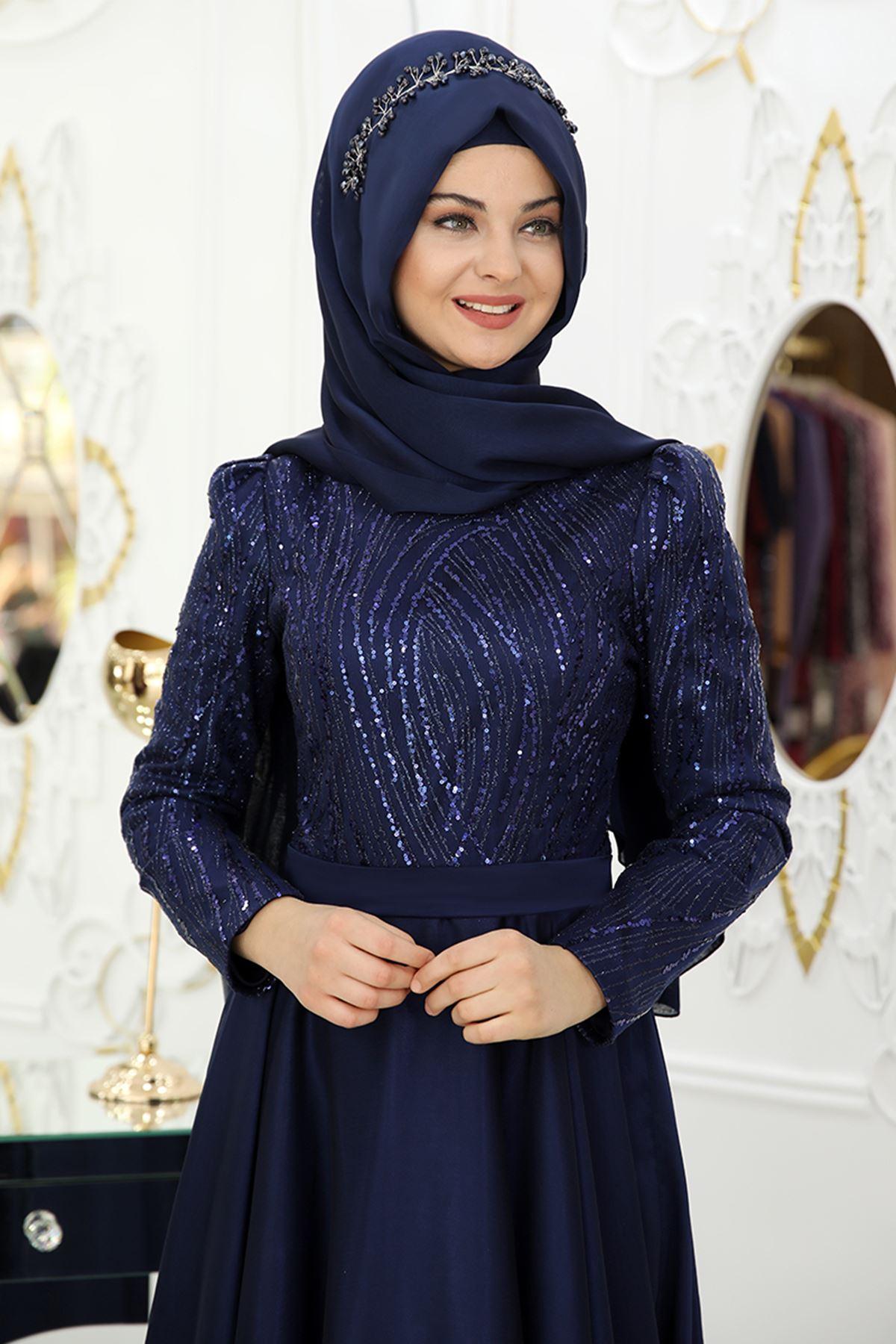 Pınar Şems Seher Abiye Lacivert