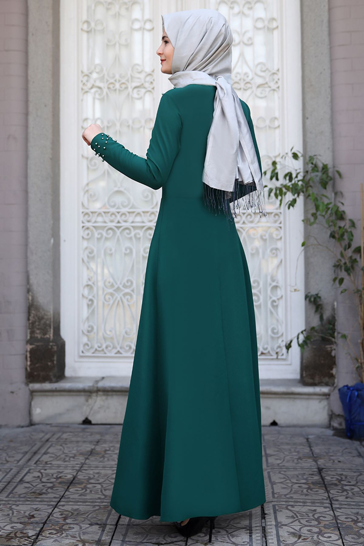 Sümay İnci Elbise Zümrüt