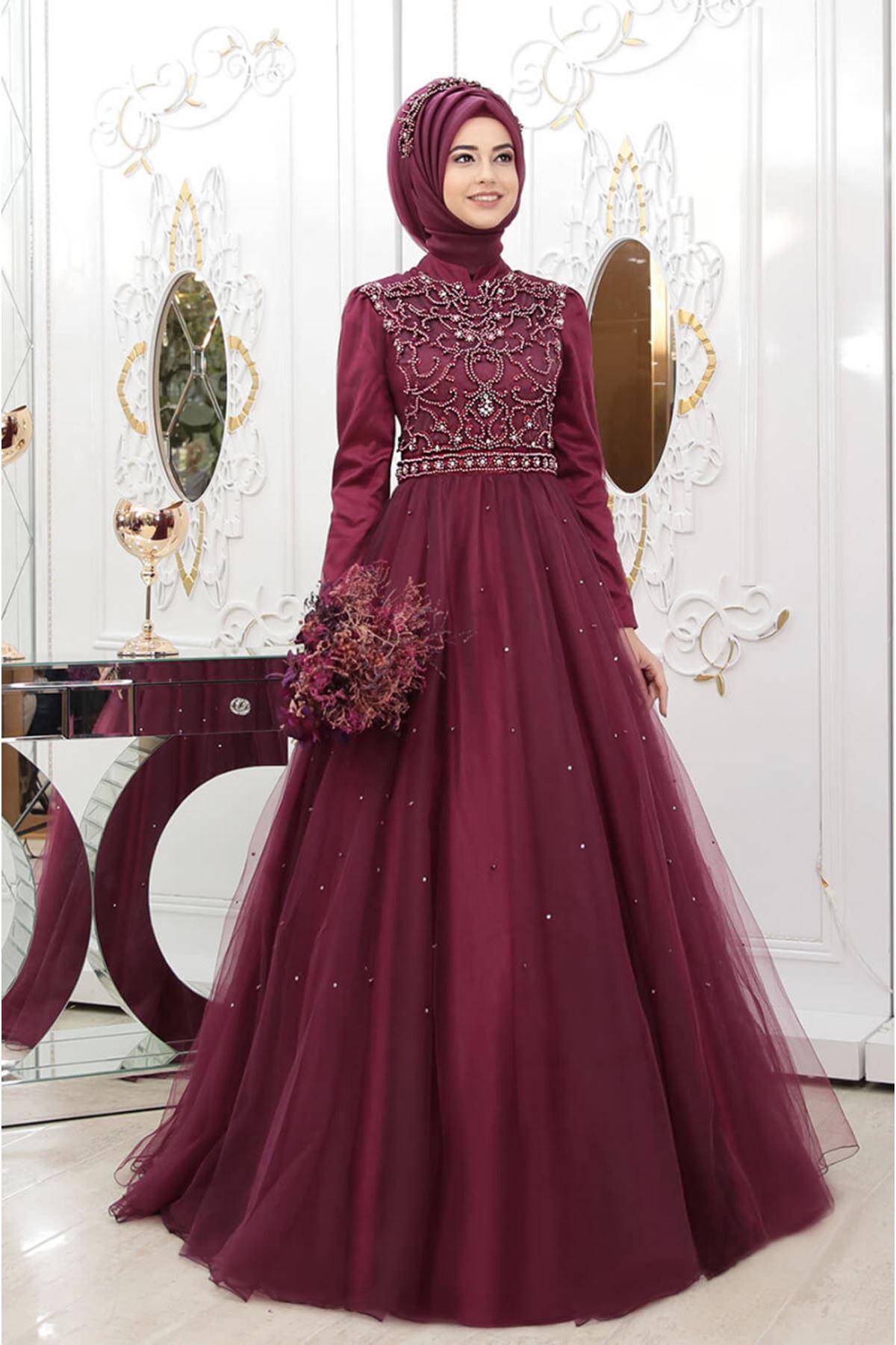 Pınar Şems Prenses Abiye - Vişne