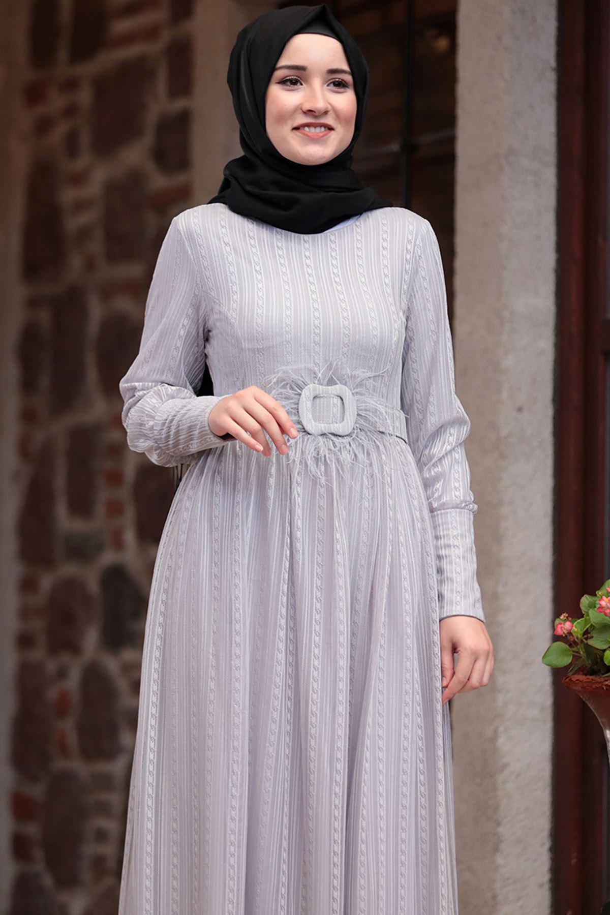 Amine Hüma - Ceylan Elbise Gri