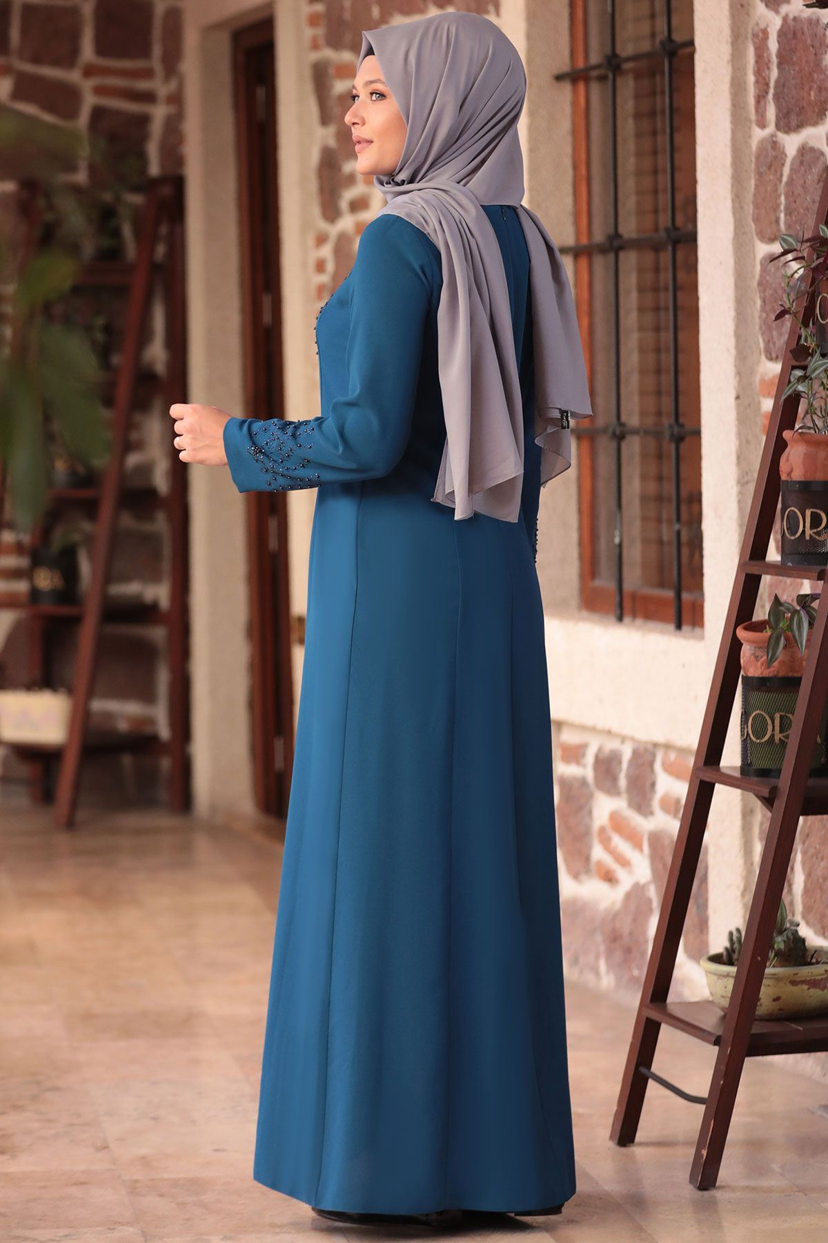 Amine Hüma - Zarif Elbise Petrol AMİ1035