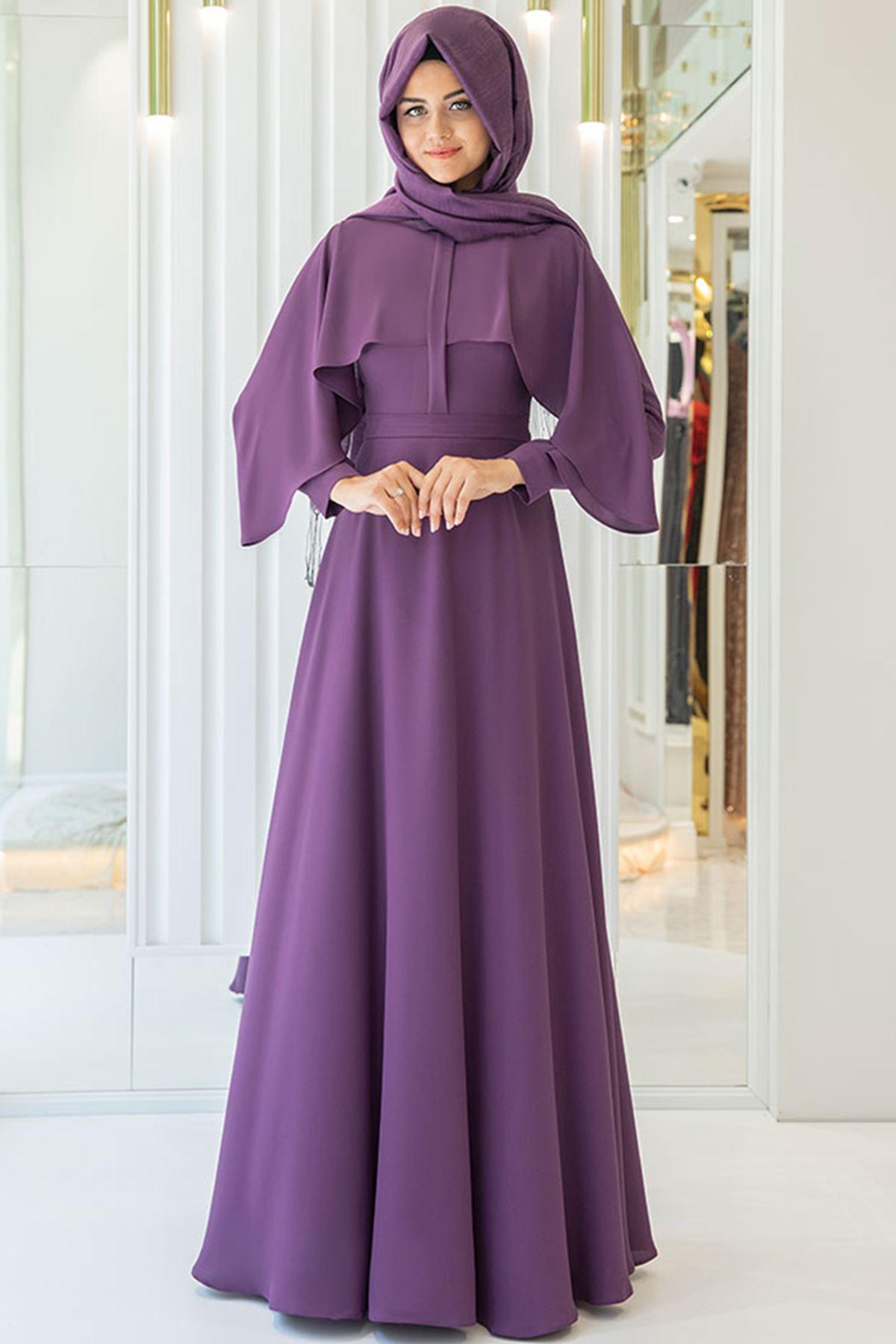 Pınar Şems Hilal Elbise Mor