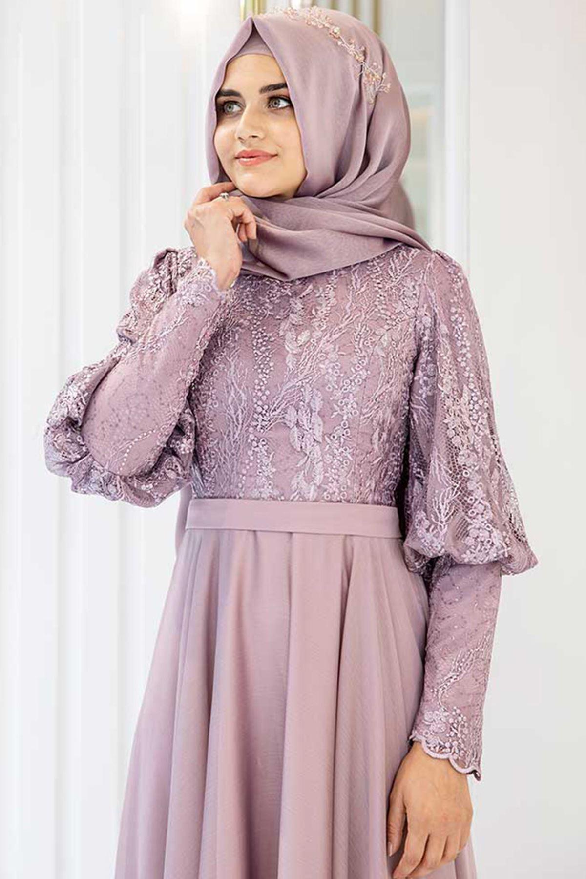 Pınar Şems Desen Abiye Lila