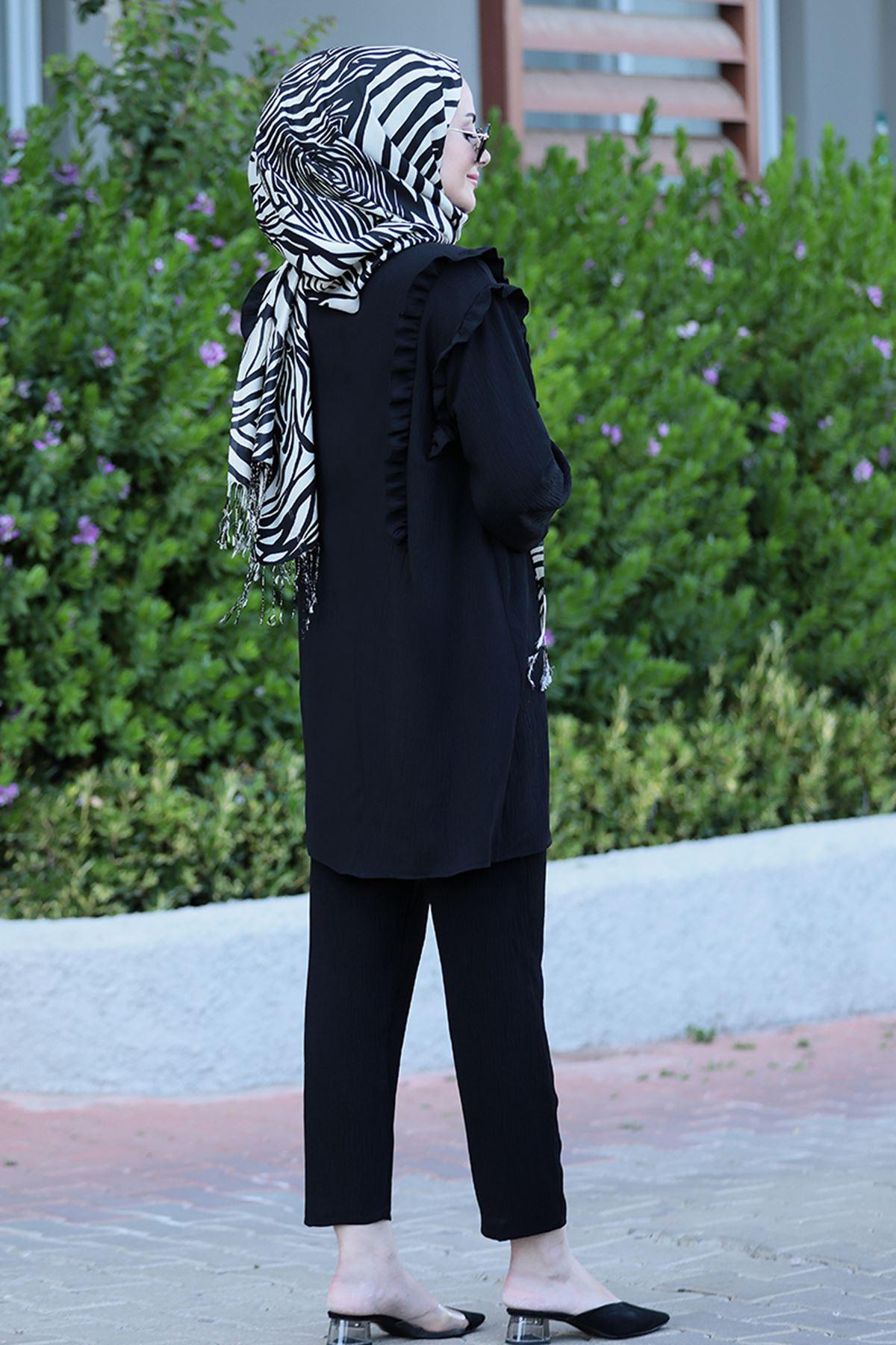 Seda Tiryaki Nervürlü Takım  Siyah
