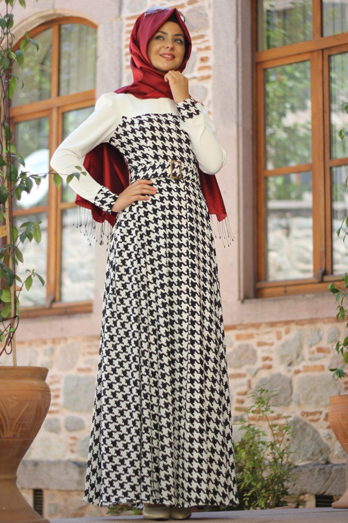 Kazayağı Zirve Elbise Kareli