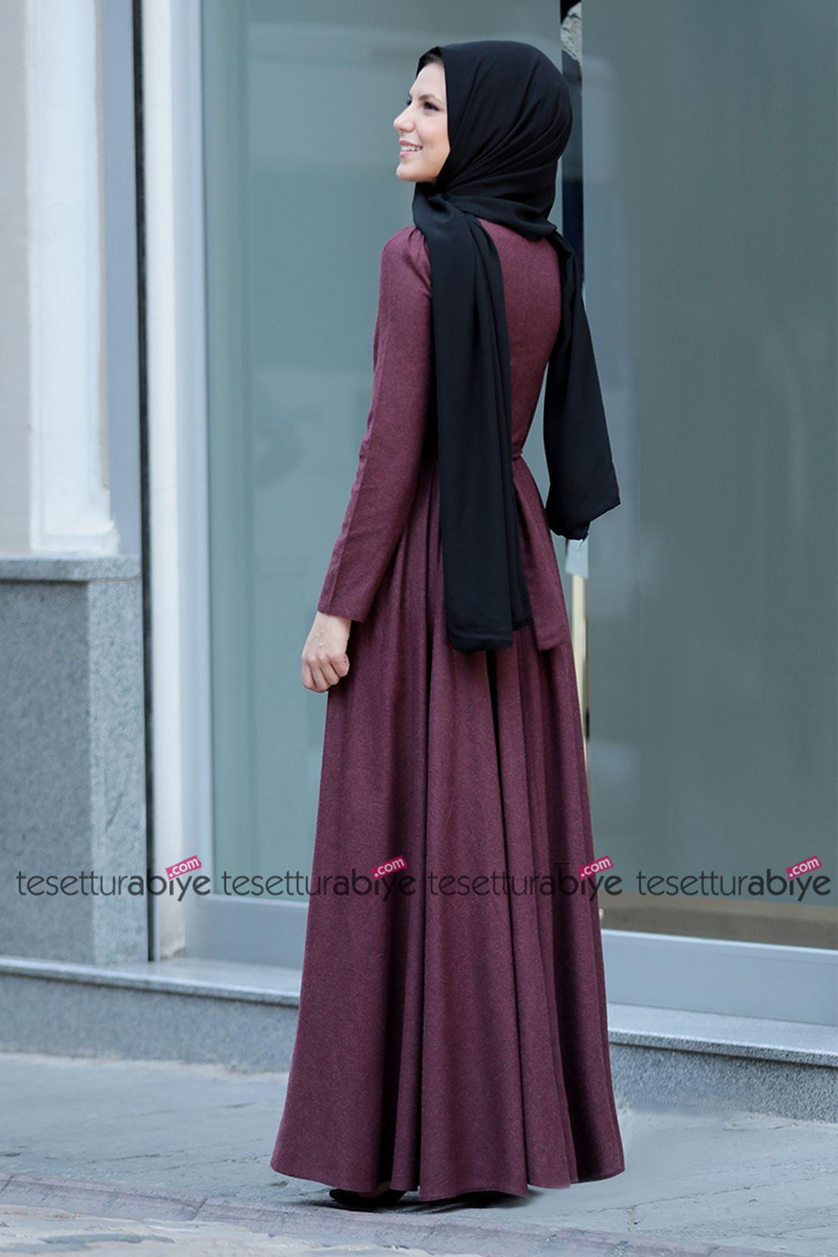 İnci Detaylı Elbise Bordo