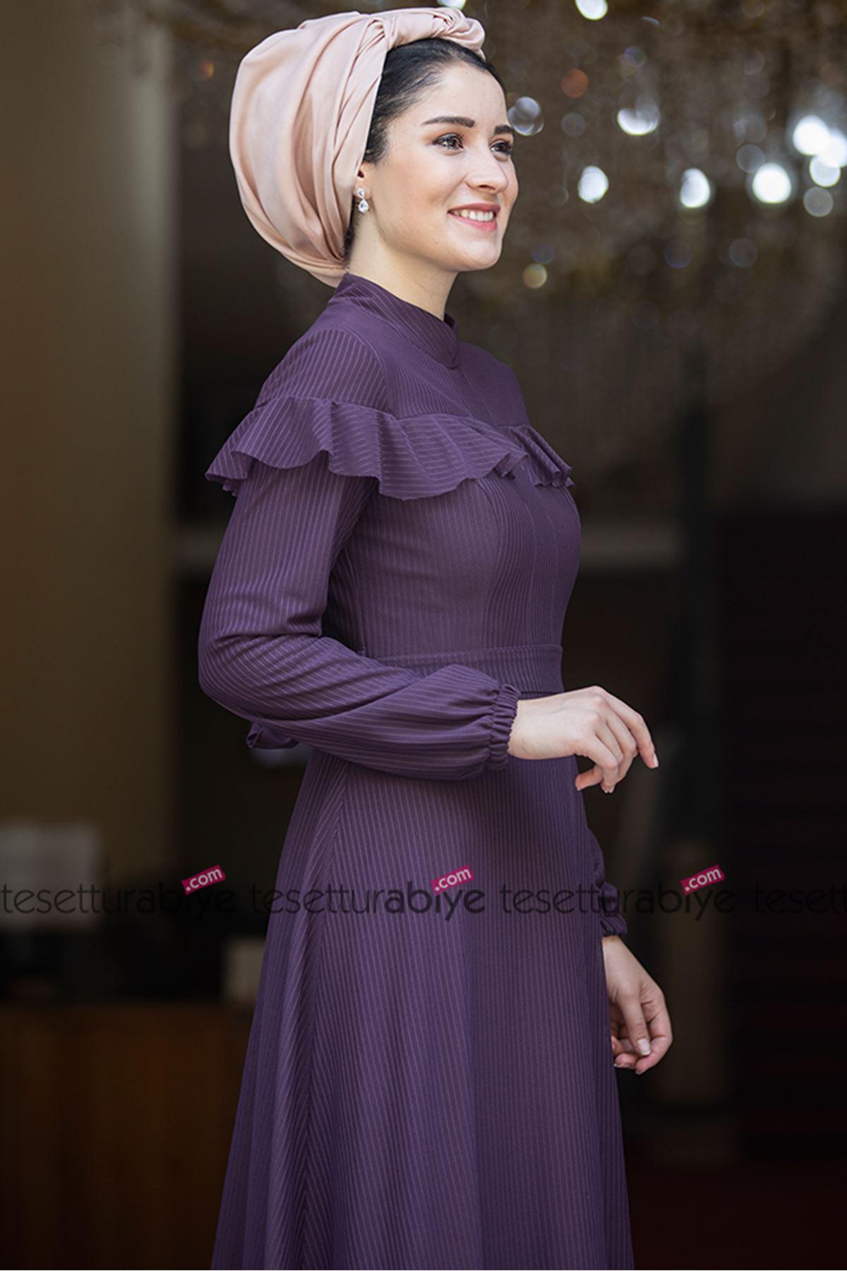 Burak Baran Fashion Nisa Abiye Mor BUR6700