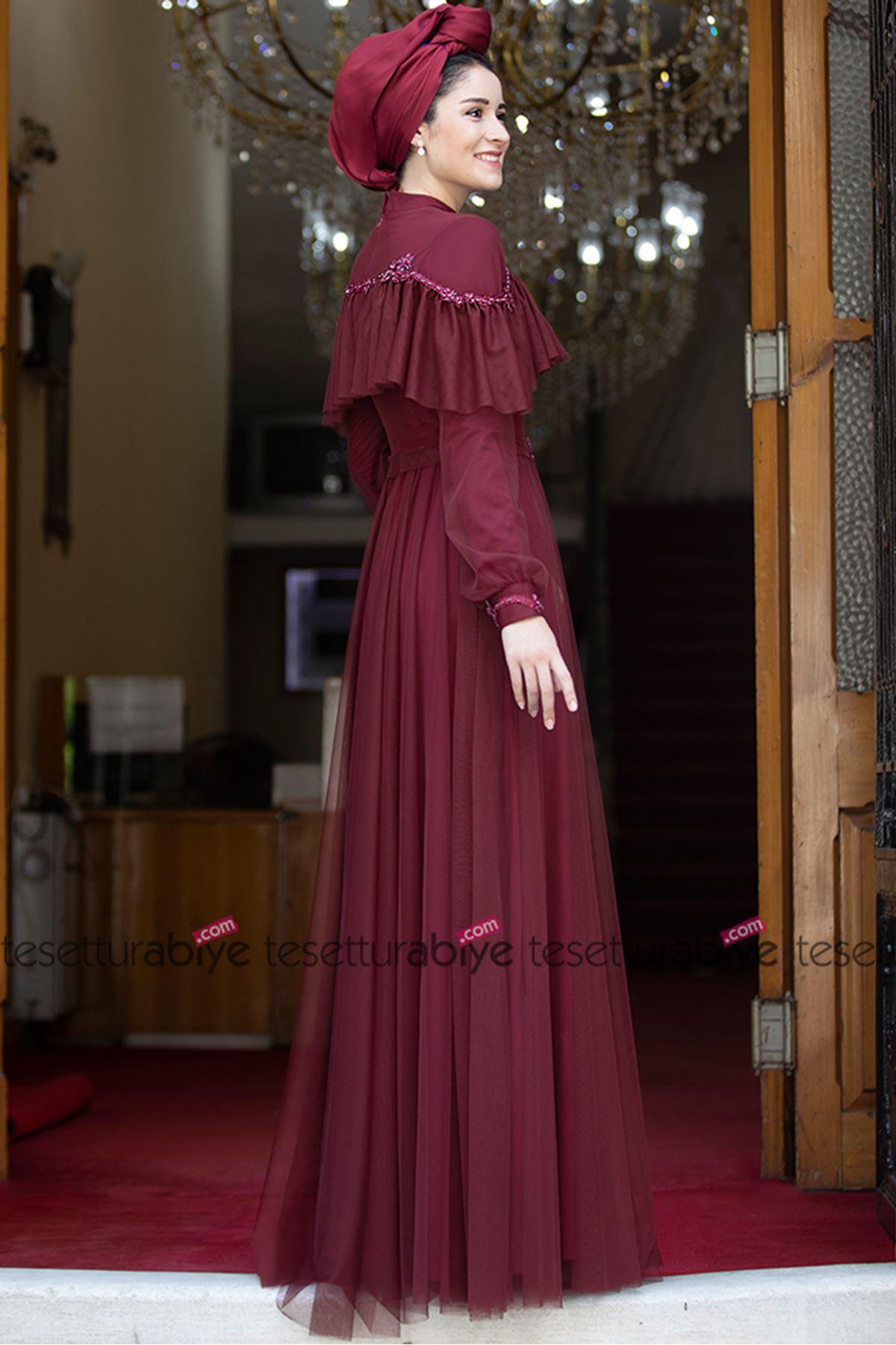 Burak Baran Fashion  Zerafet Abiye Bordo BUR6703