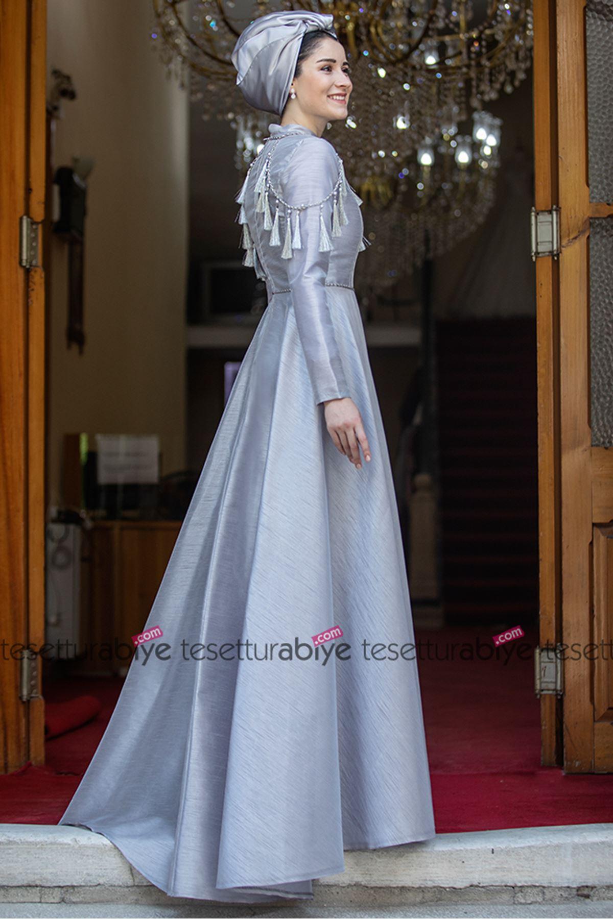 Burak Baran Fashion Kol Detaylı Abiye Gri BUR6702