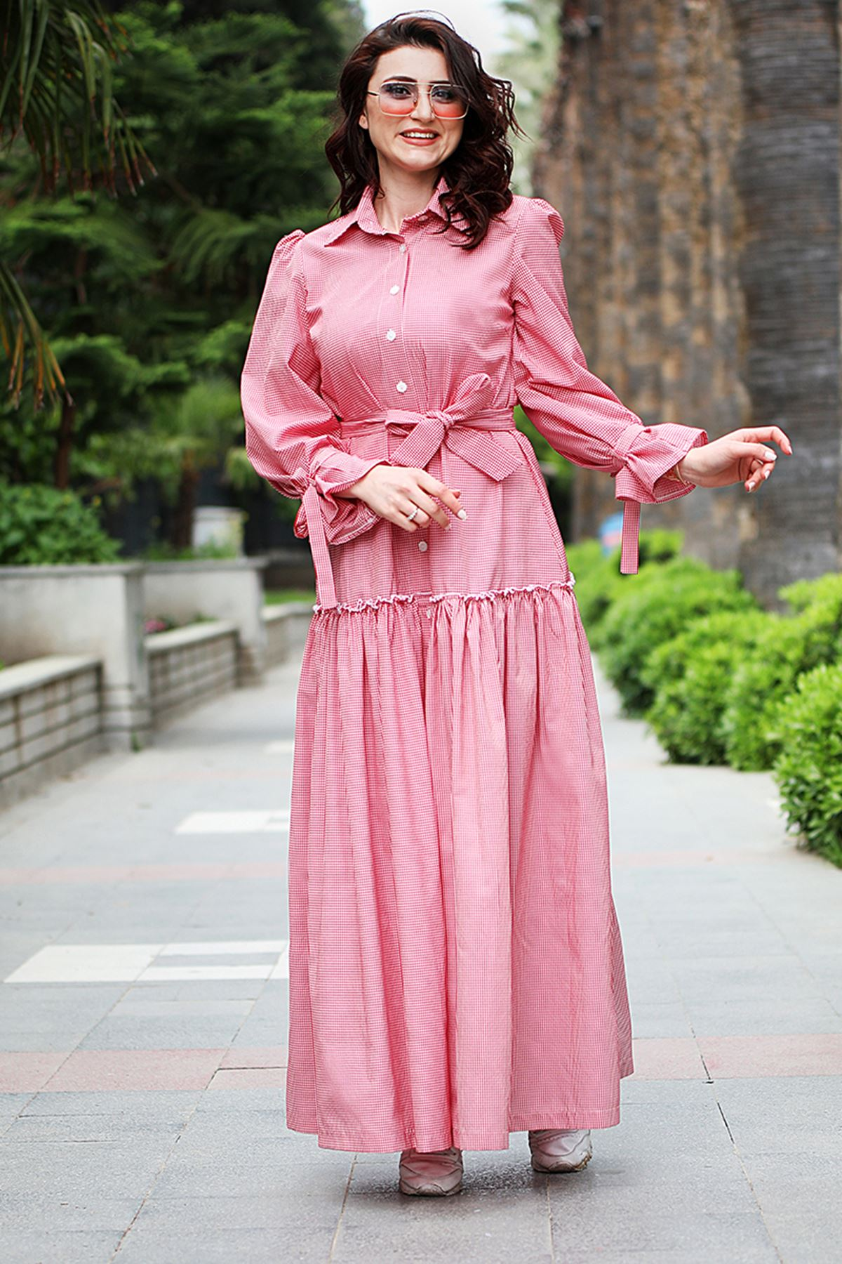 Poplin Elbise Pudra