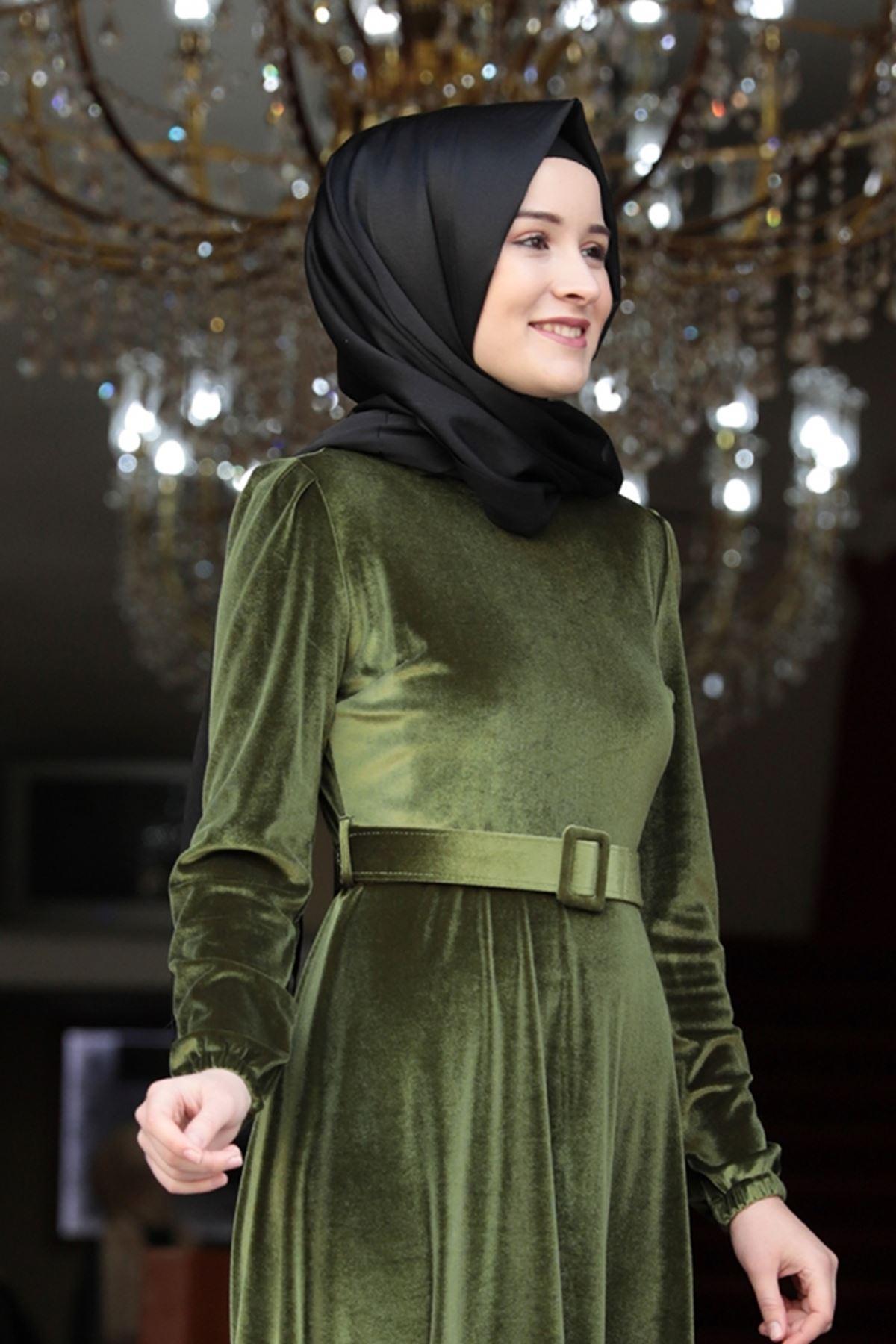 Tutku  Kadife Elbise Haki Yeşili
