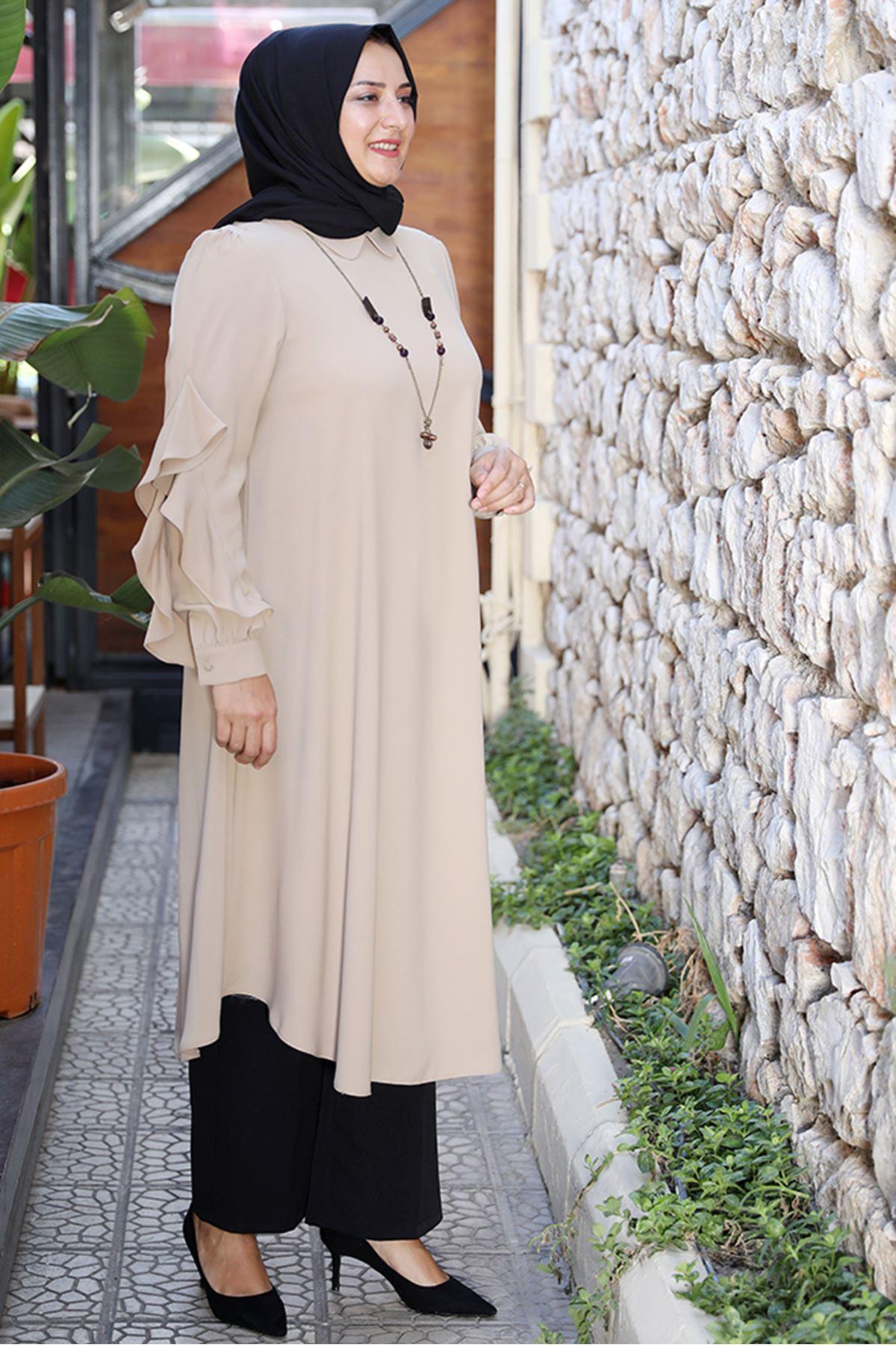 Fırfırlı Tunik Camel