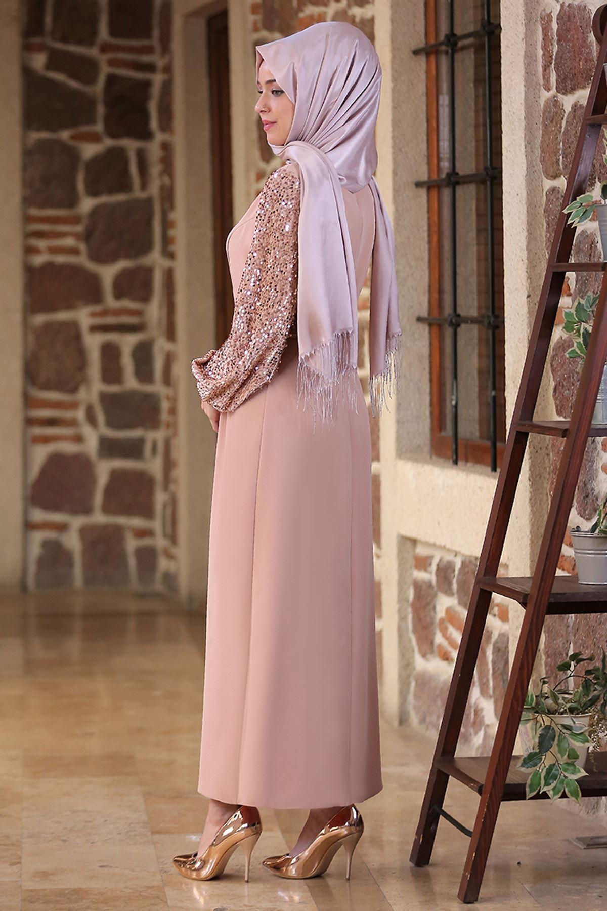 Emsale Nefes Elbise Bej EMS8306