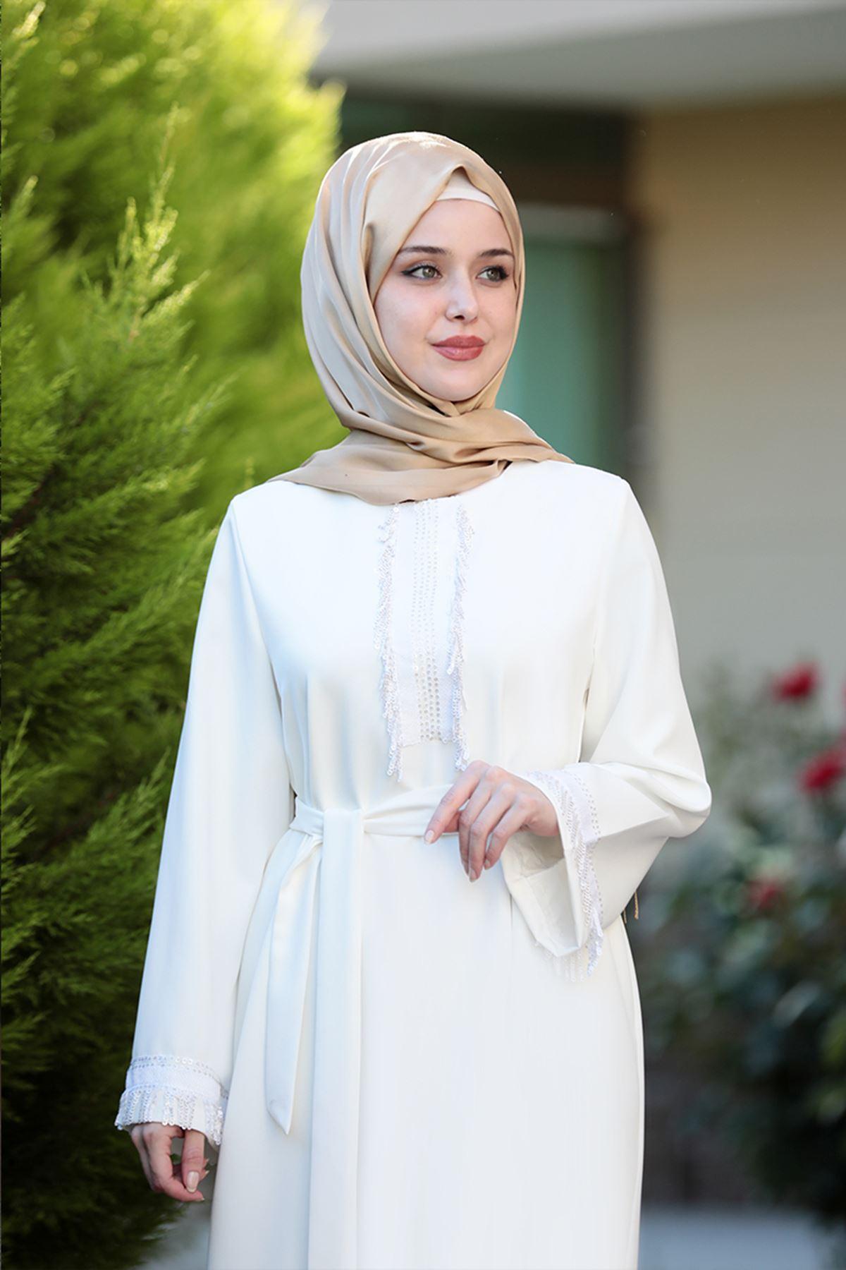 Emsale Henna Elbise Ekru EMS8307