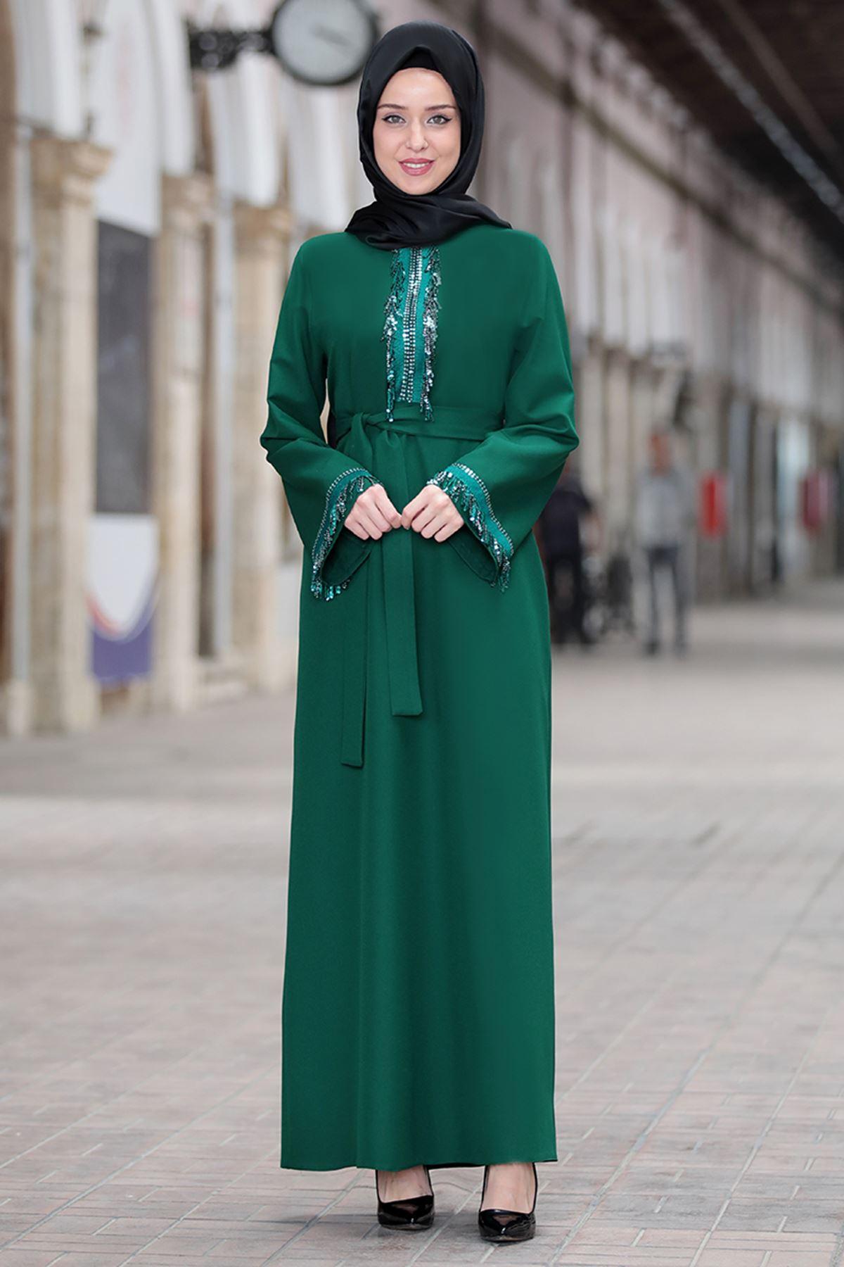 Emsale Henna Elbise Zümrüt  EMS8307