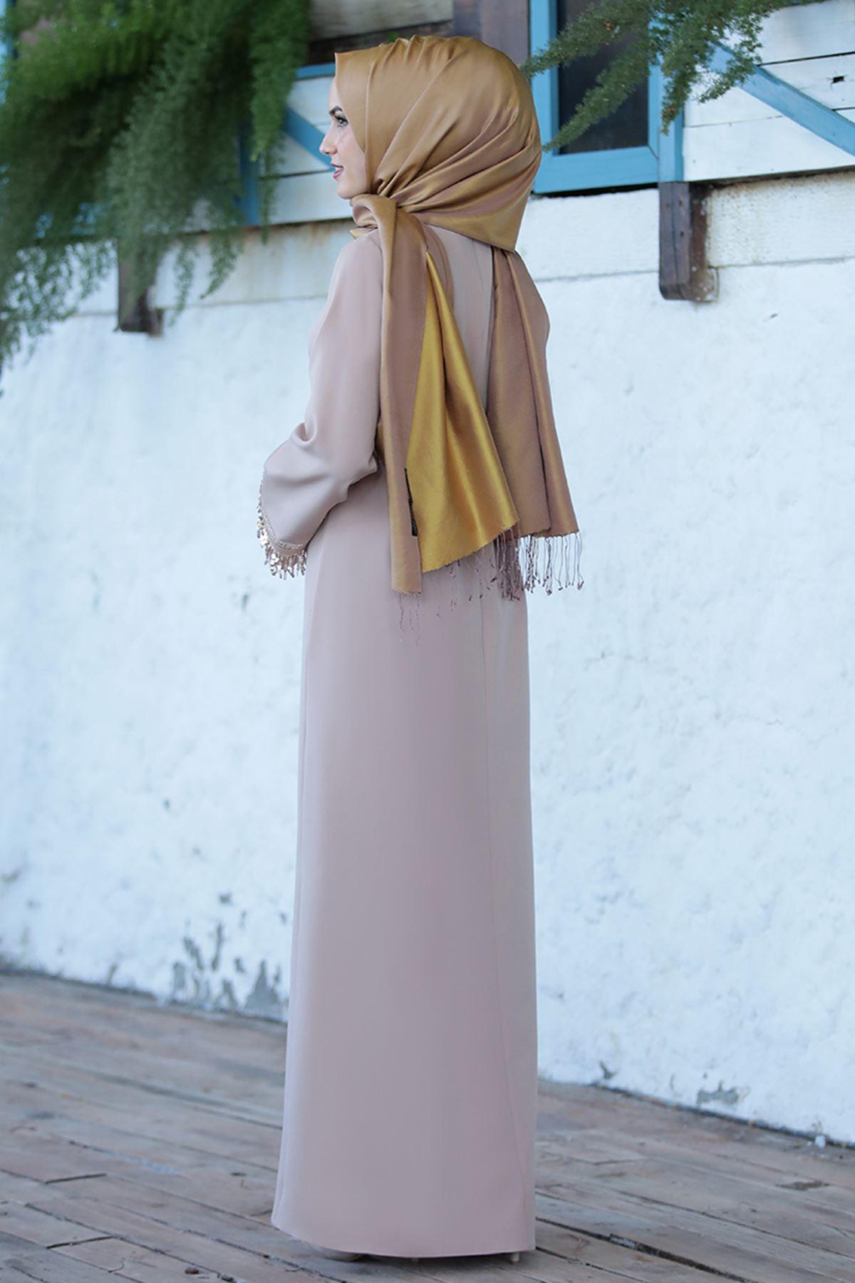 Emsale Henna Elbise Bej EMS8307