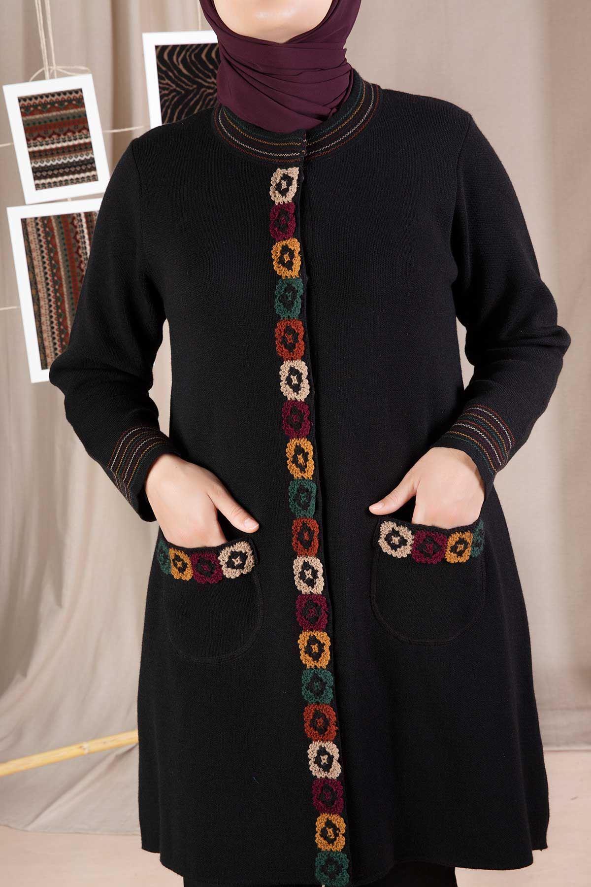 Büyük Beden Tesettür Triko Ceket Siyah 9203