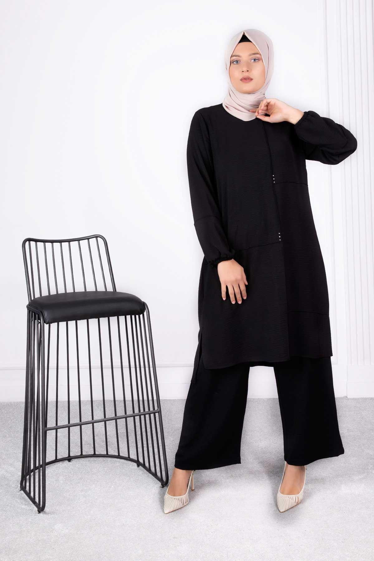 Almila Pantolonlu Takım Siyah 38007