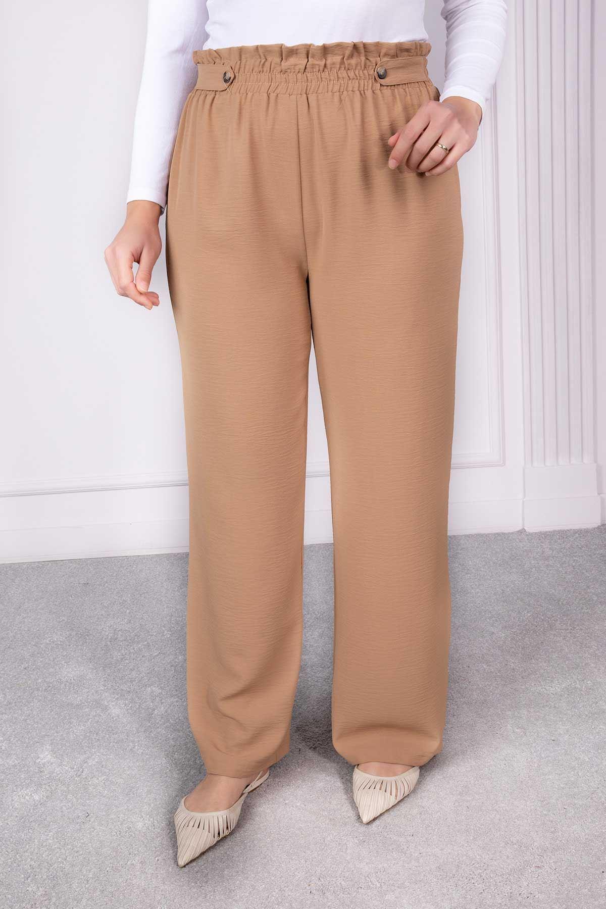 Düğme Detaylı Bol Paça Pantolon Camel 1232-32