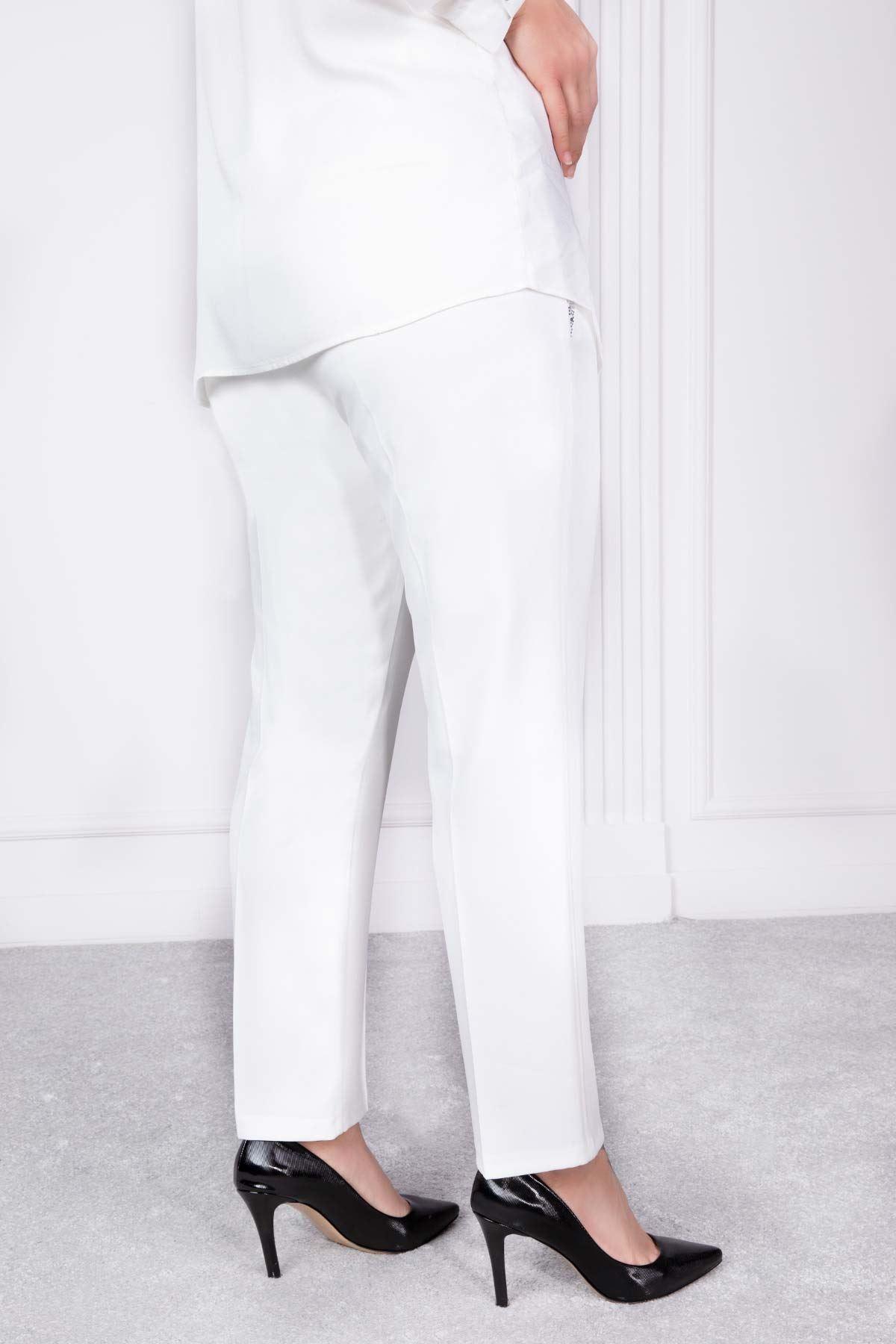 Çima Detaylı Taşlı Pantolon Beyaz 2213-61