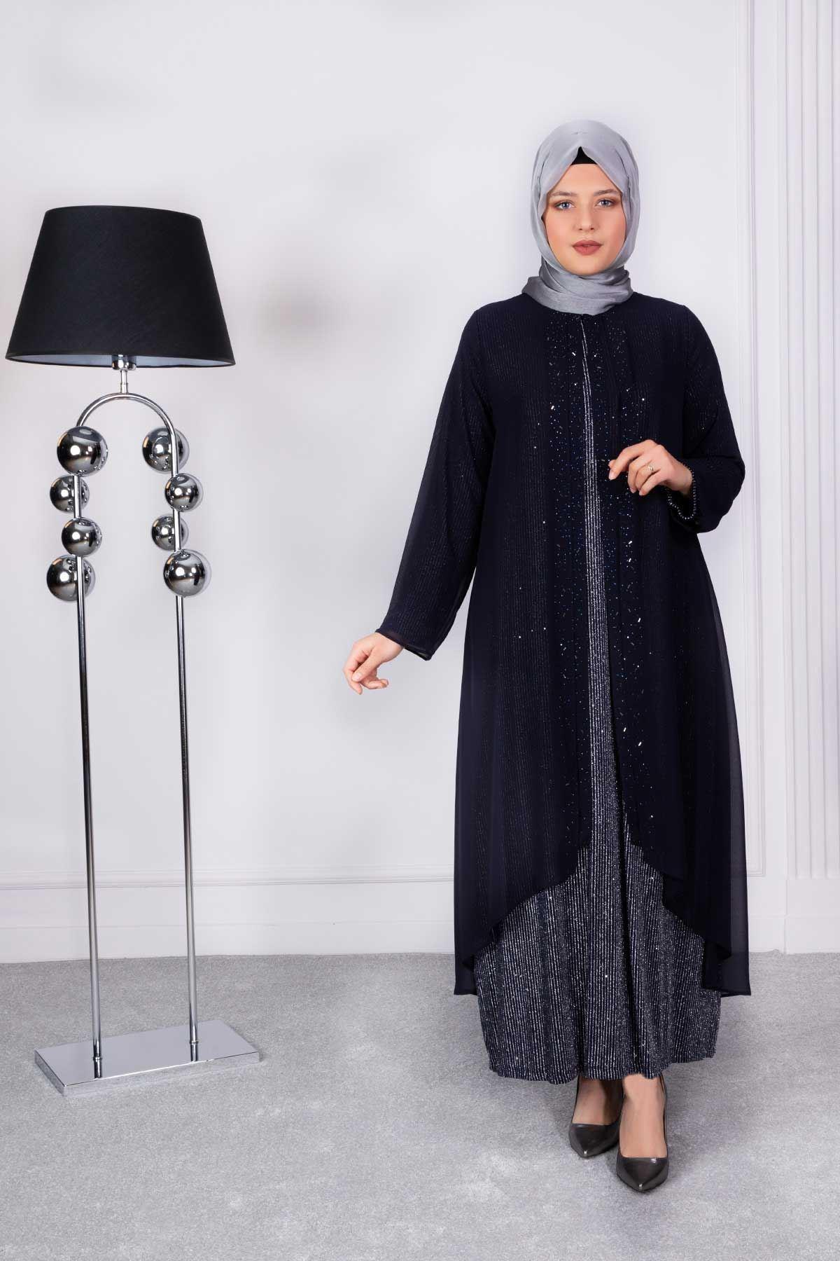 Arya Abiye Elbise Lacivert-Gümüş 50006