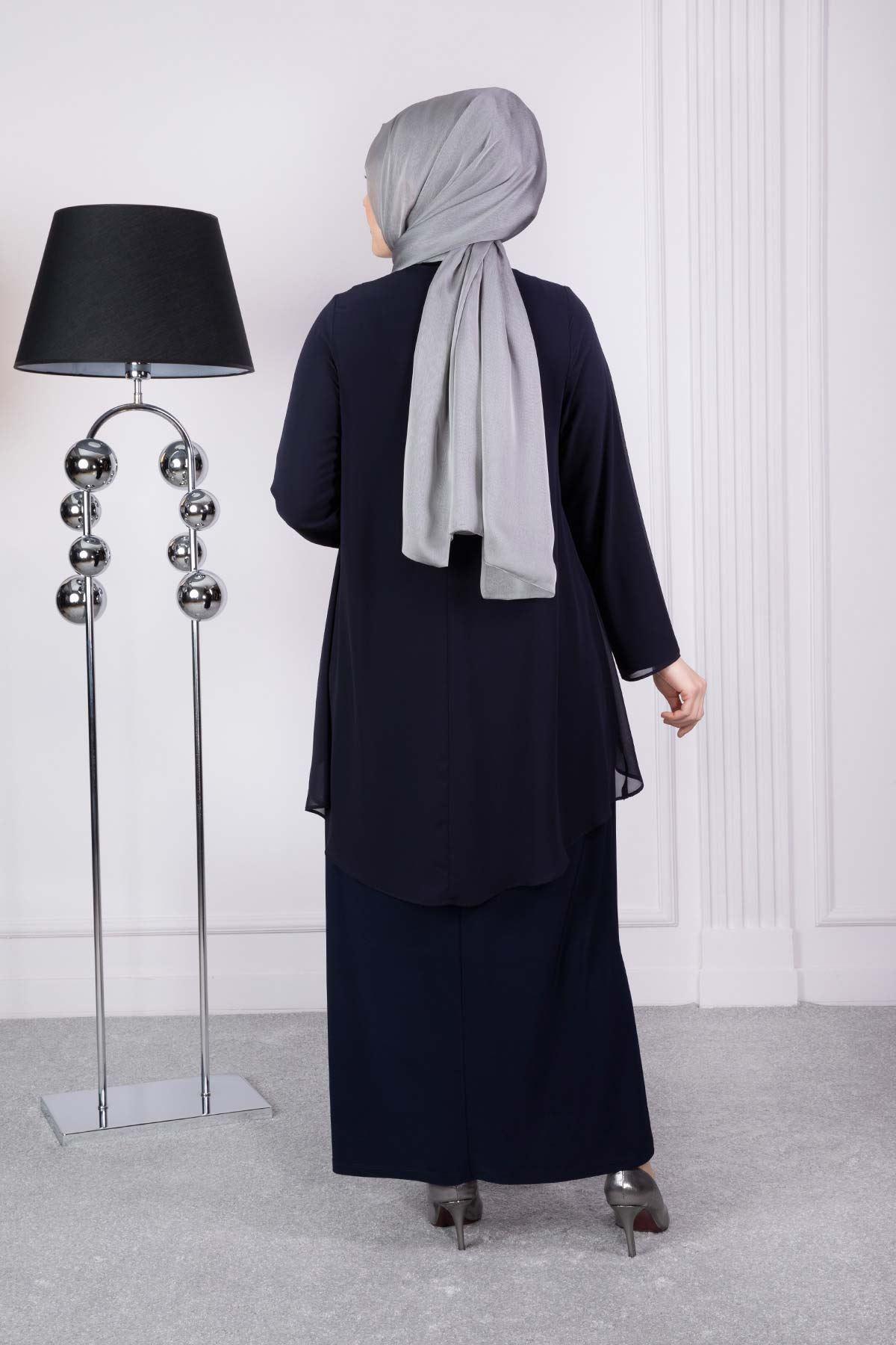 Henna Abiye Elbise Lacivert 53004