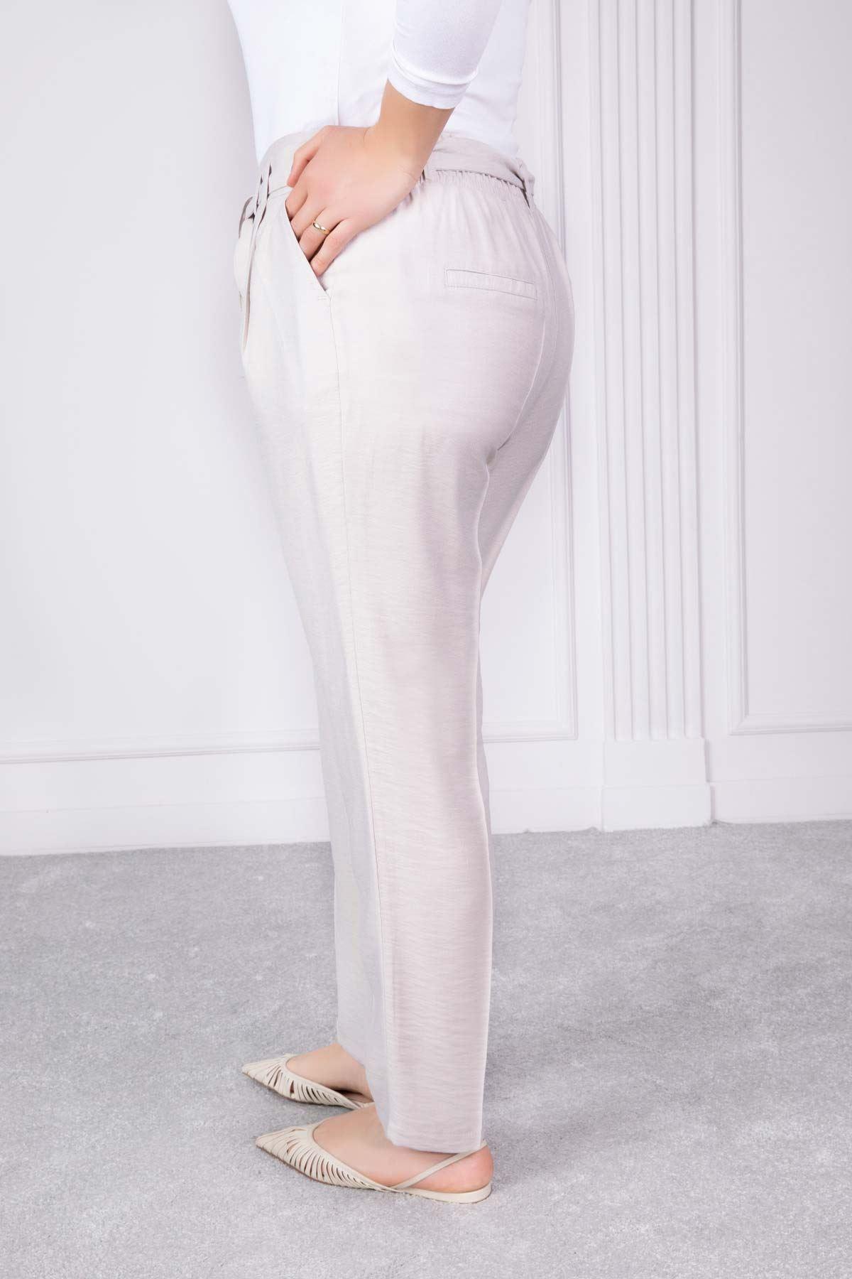 Kuşak Ve Pili Detaylı Pantolon Bej 2181-76