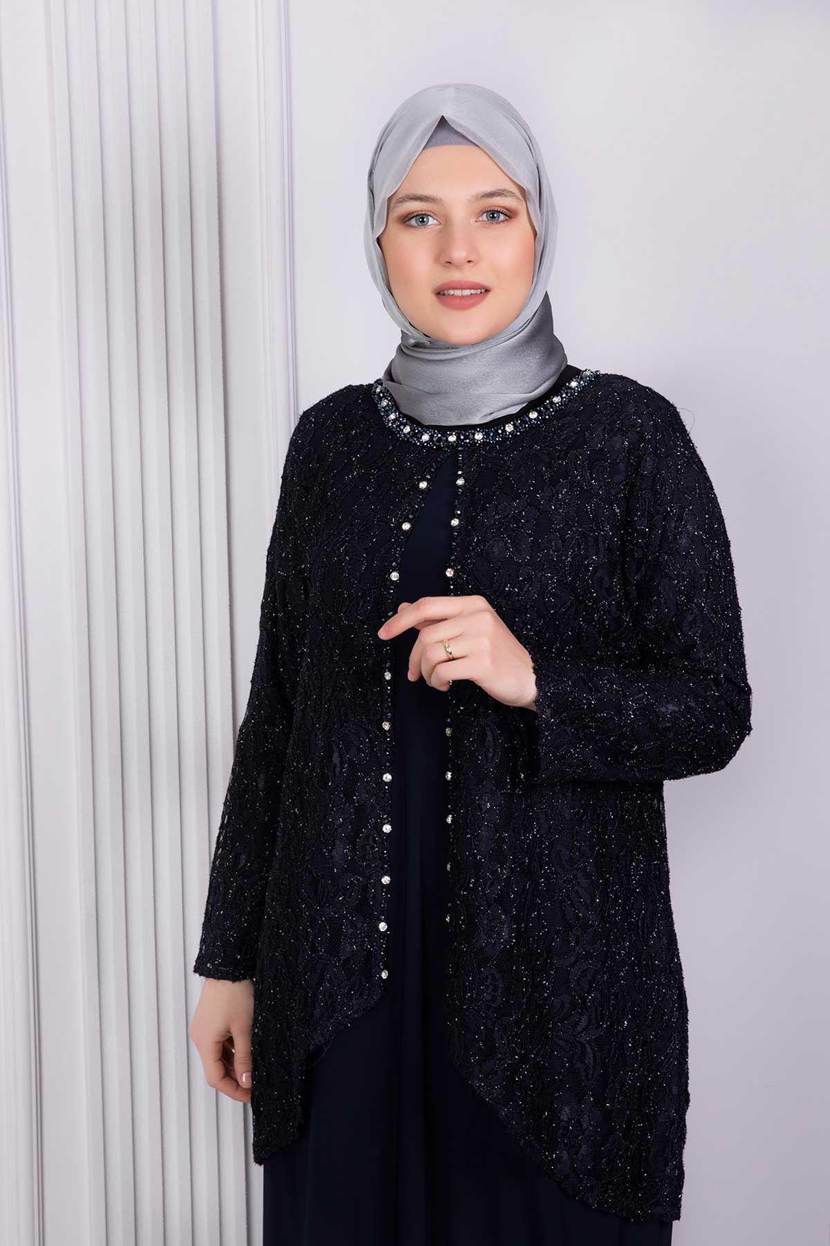 Ferimah Abiye Elbise Lacivert 50002