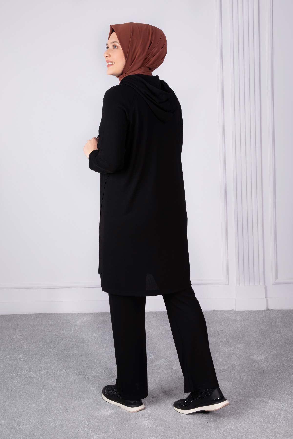 Afra Pantolonlu Takım Siyah 35008