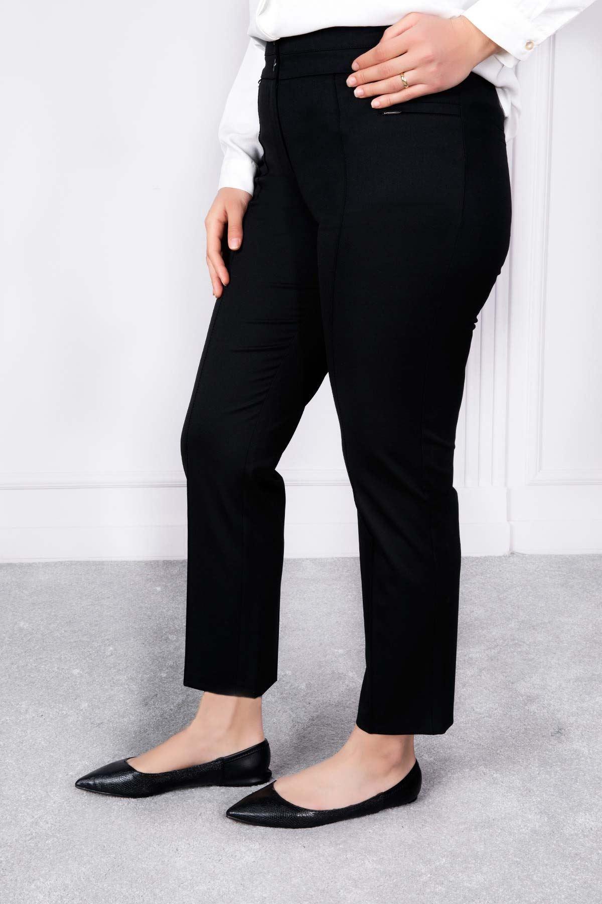 Çift Kemer Bilek Pantolon Siyah 2169-01