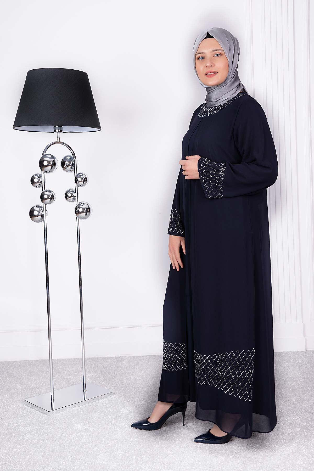 Buğlem  Abiye Elbise Lacivert 50010