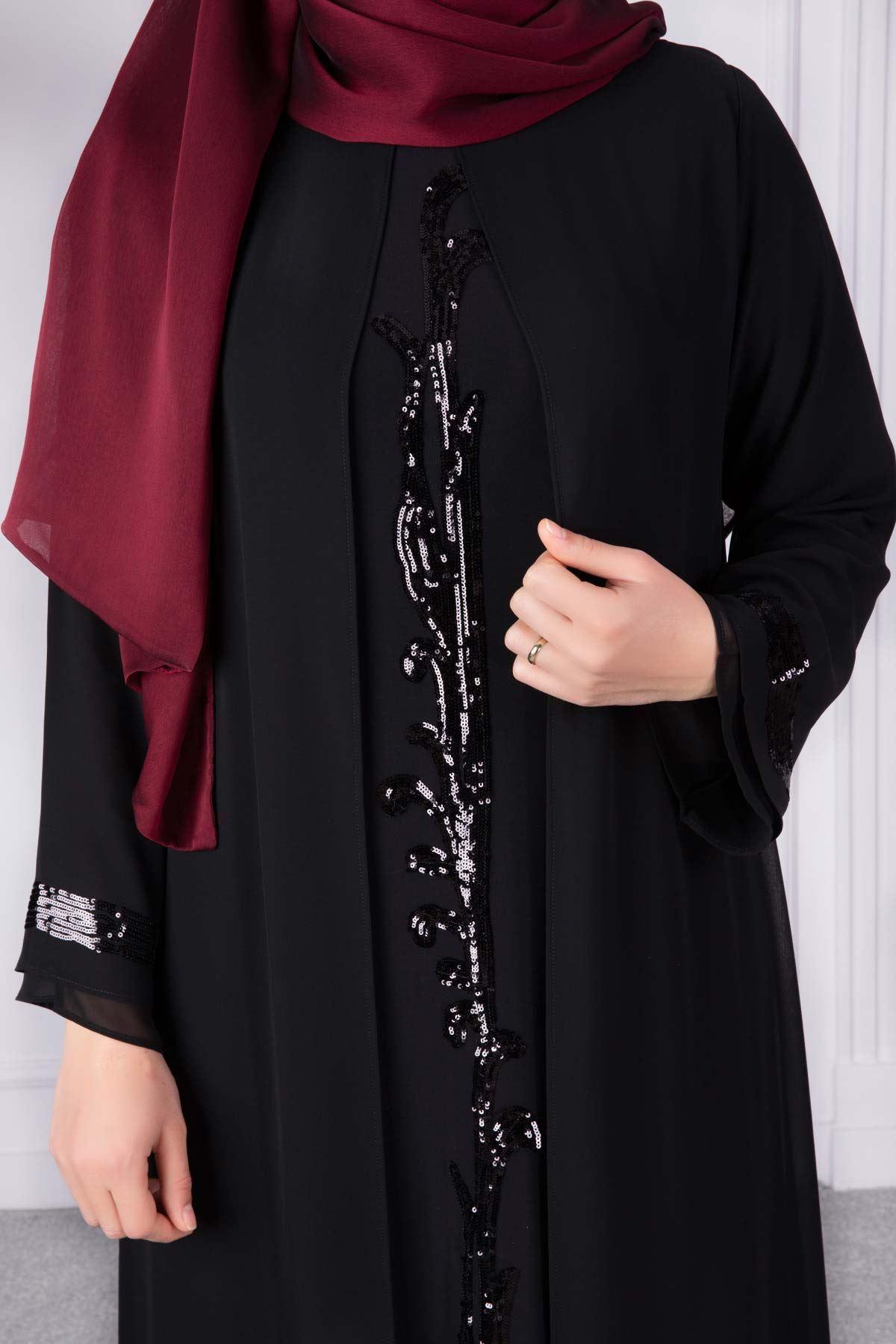 Ferya Abiye Elbise Siyah 50009