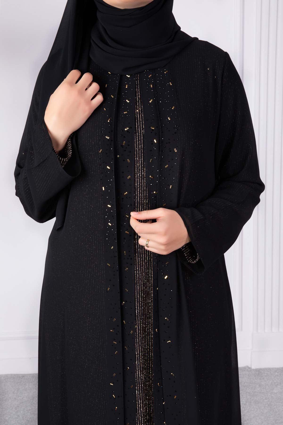 Arya Abiye Elbise Siyah-Gold 50006