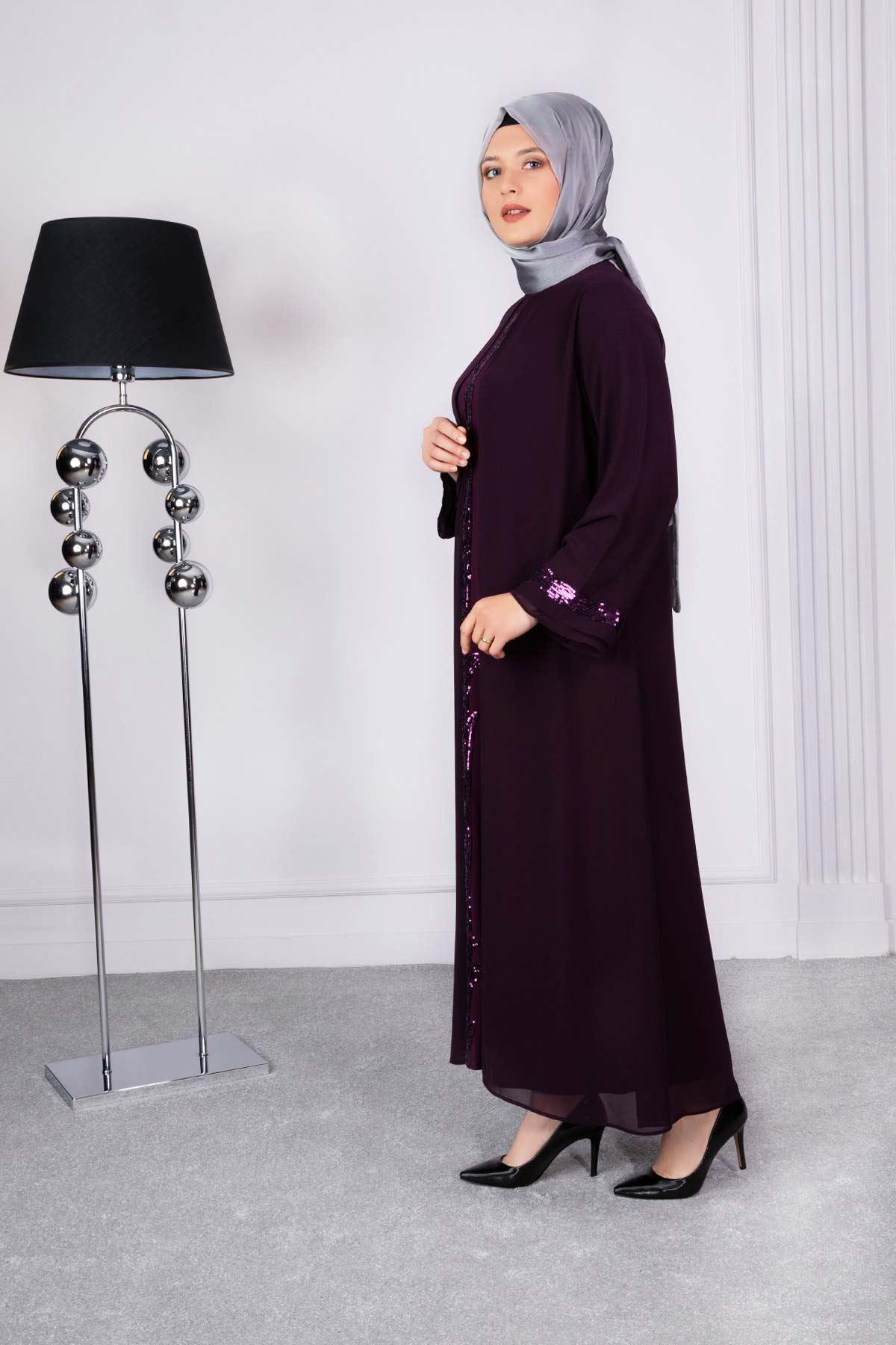 Ferya Abiye Elbise Mürdüm 50009