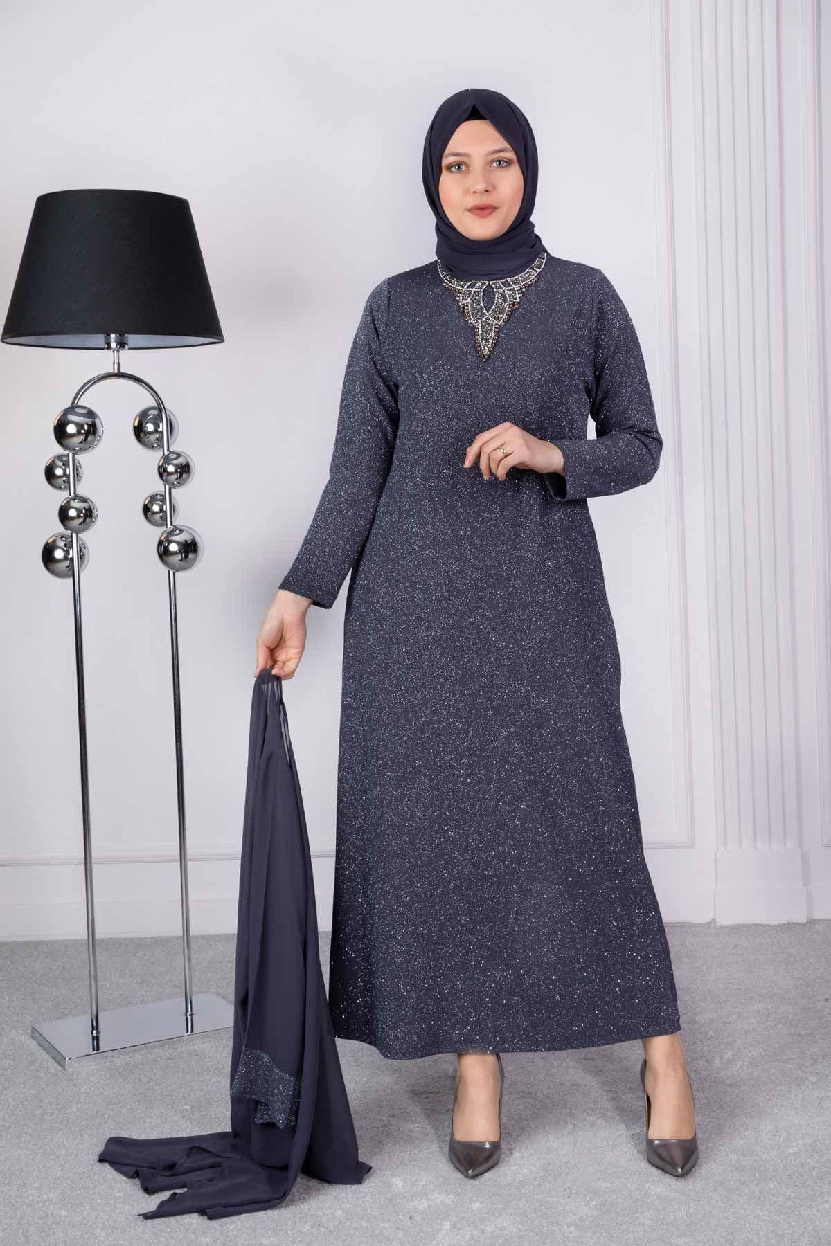 İmran Abiye Elbise Füme 50008