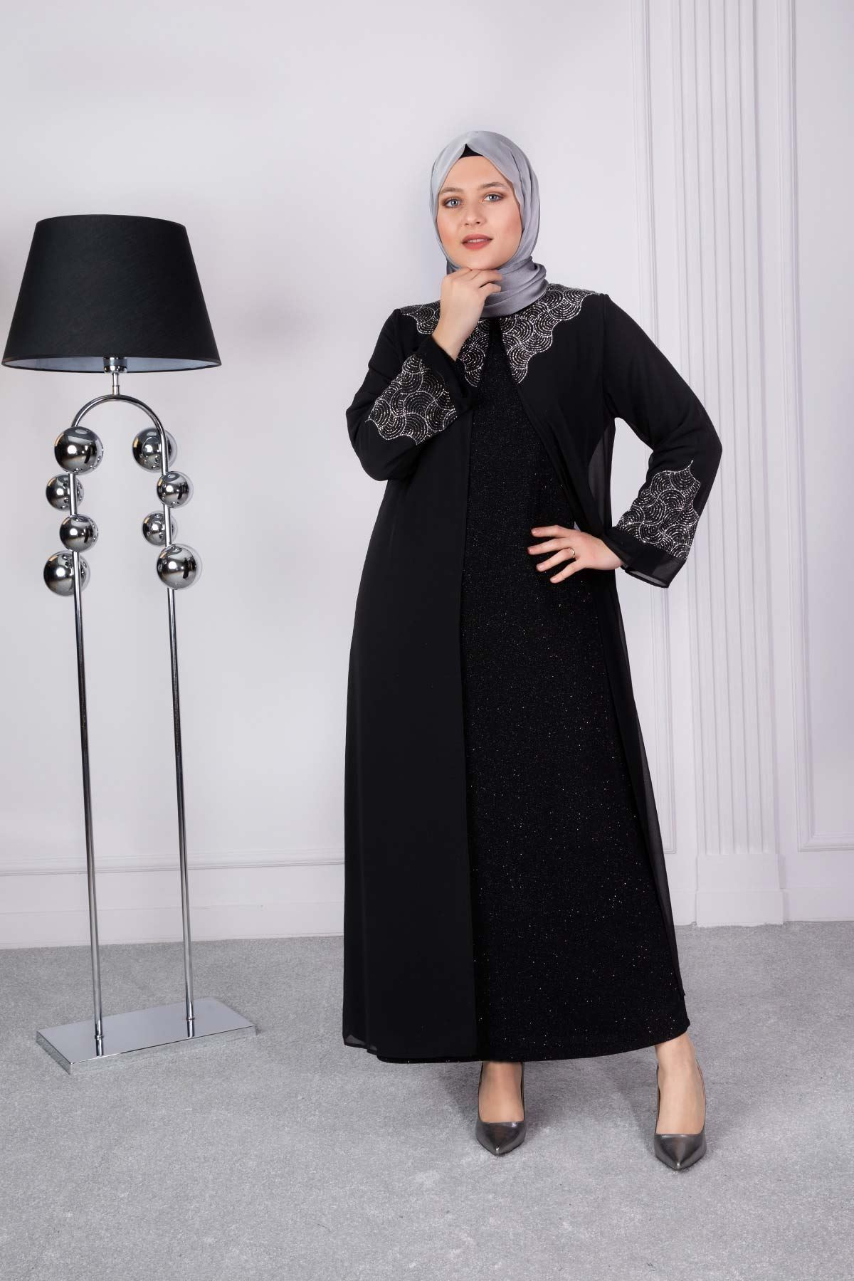 Sahra  Abiye Elbise Siyah 50007