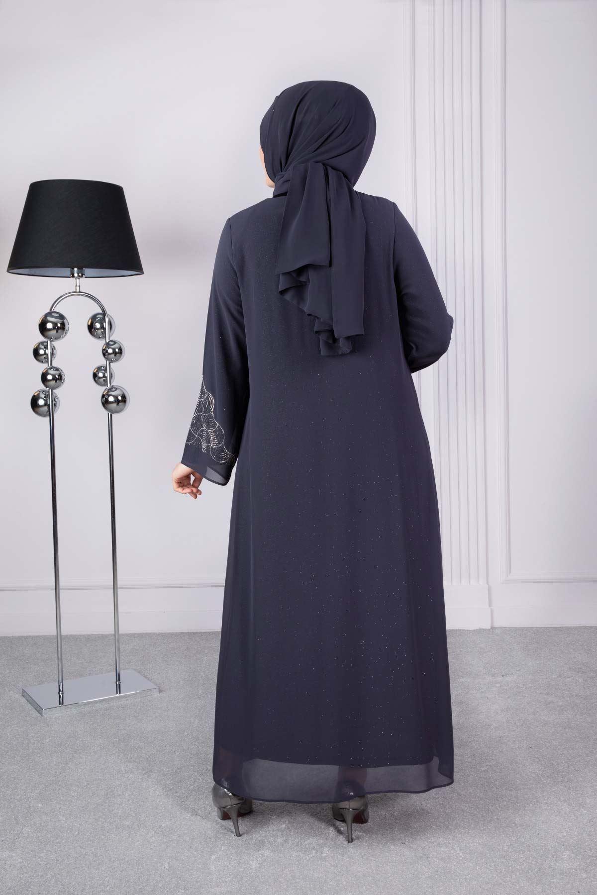 Sahra  Abiye Elbise Füme 50007
