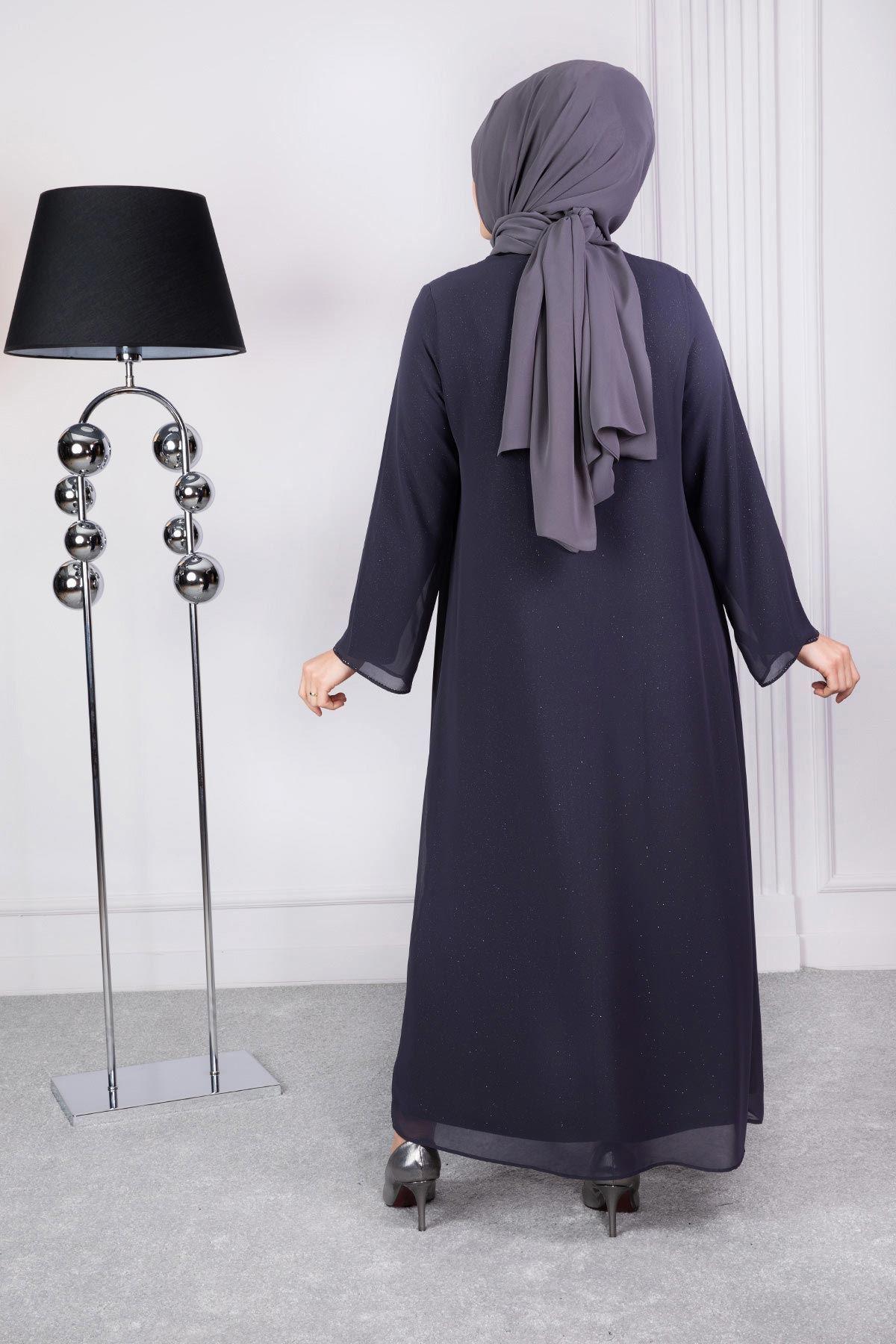 Kayra Abiye Elbise Füme 50004
