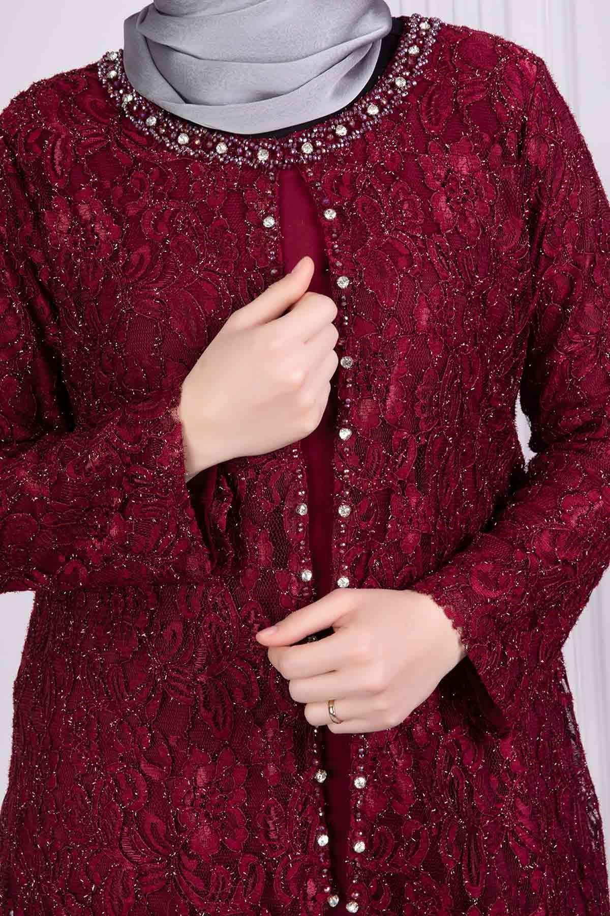 Ferimah Abiye Elbise Bordo 50002