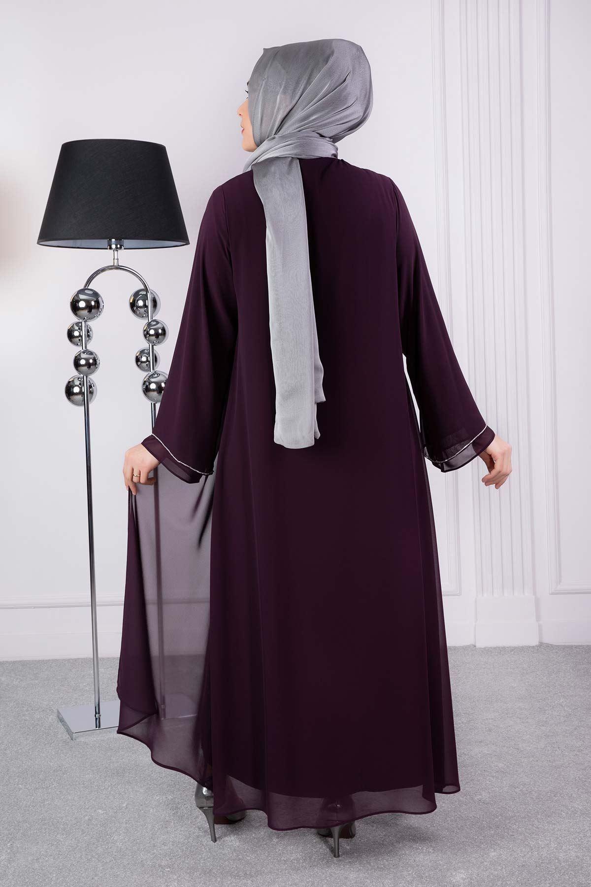 Lale Abiye Elbise Mürdüm 53008
