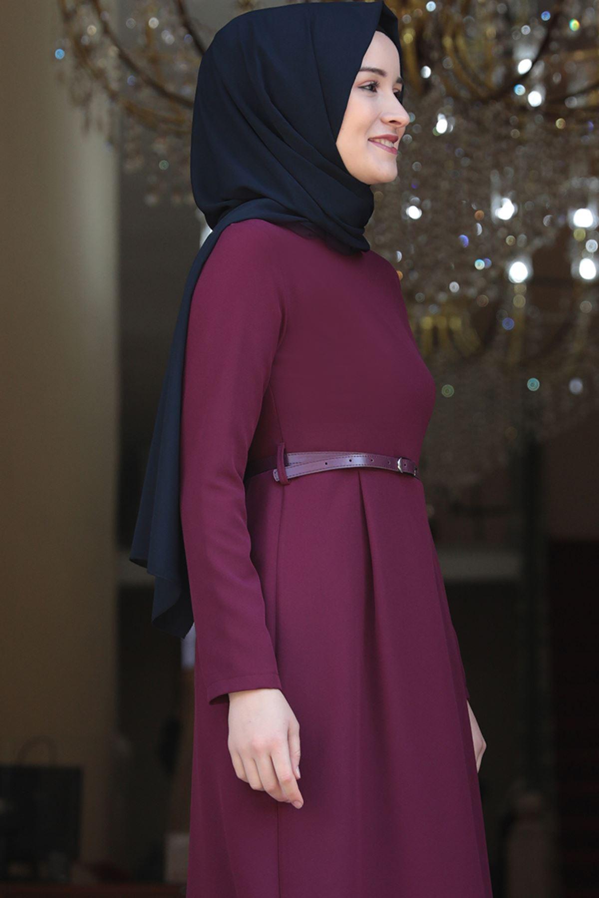 Amine Hüma - Elif Kalem Elbise Mürdüm