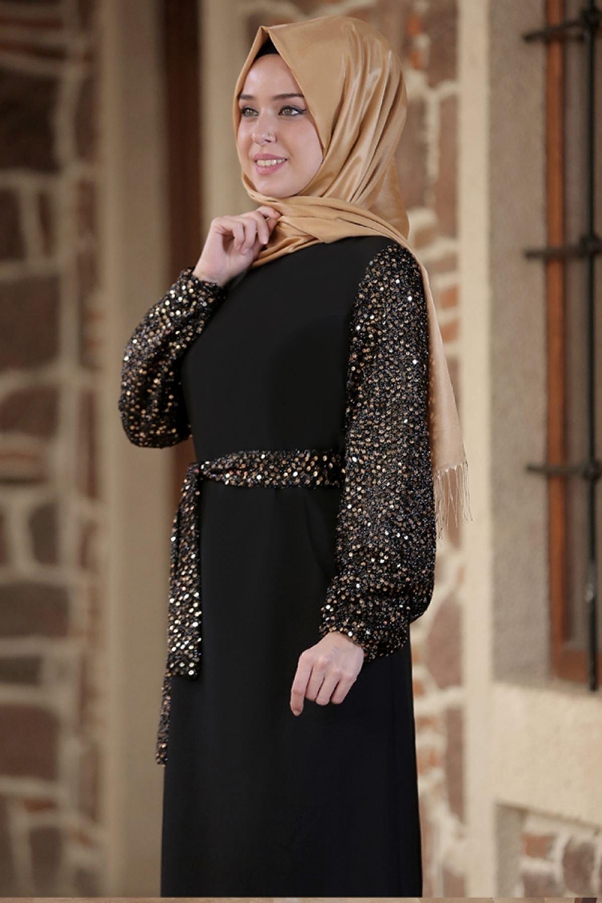 Emsale Nefes Elbise Siyah Gold EMS8306