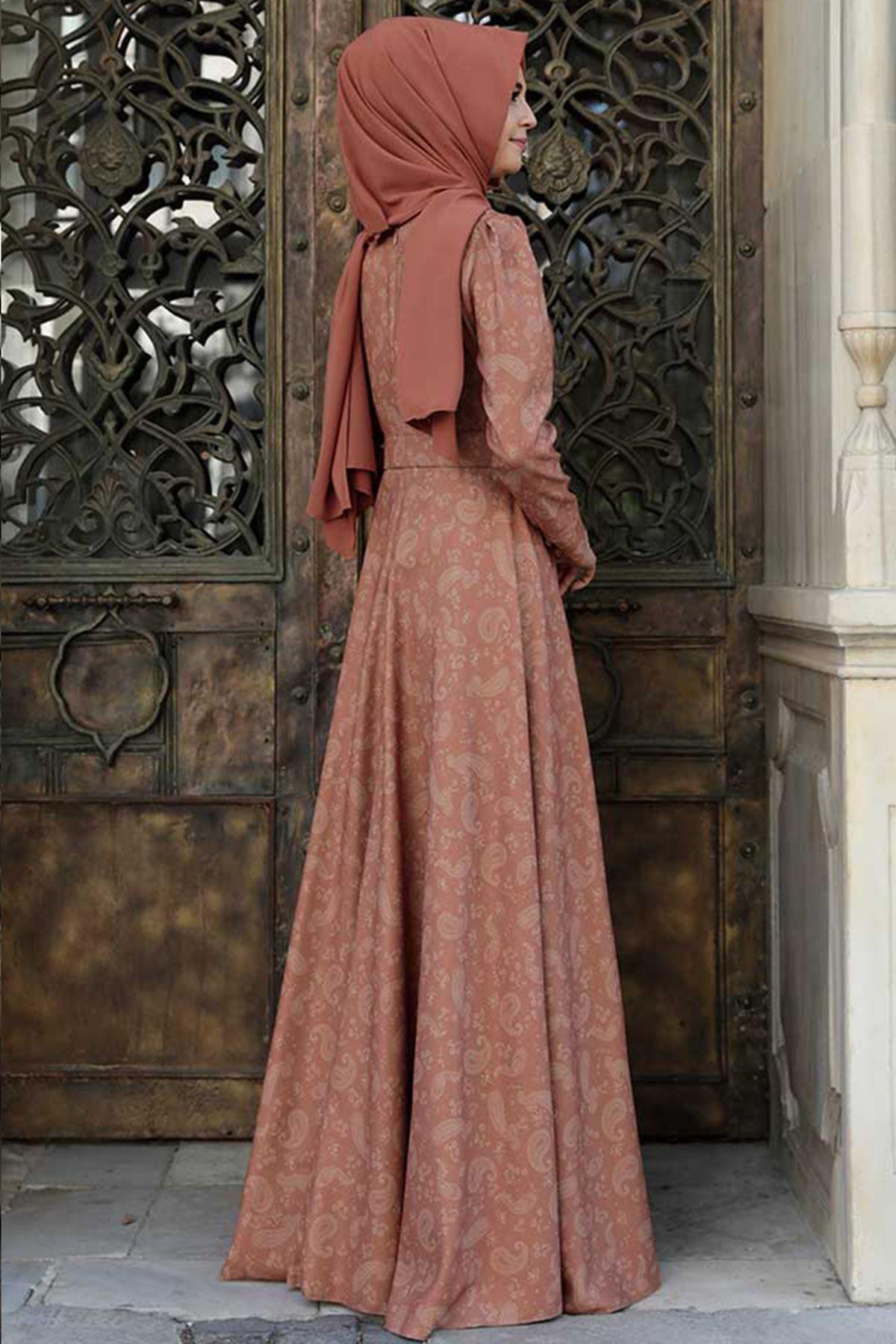 Şal Desenli Elbise Kiremit